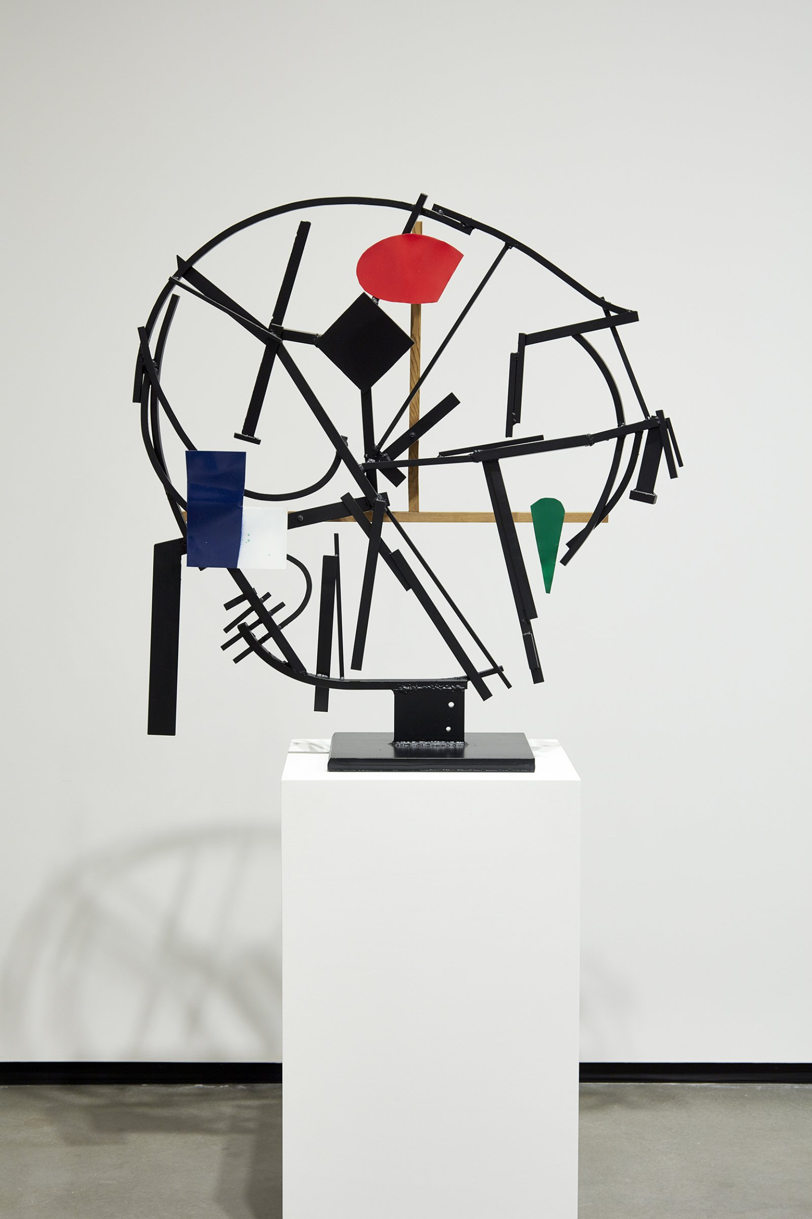 Damian Moppett, Timeless Clock Abstraction, 2013, paint, steel, wood, 73 x 39 x 18 in. (186 x 99 x 46 cm). Installation view, Every Story Has Two Sides, Art Gallery of Alberta, Edmonton, 2016 by Damian Moppett