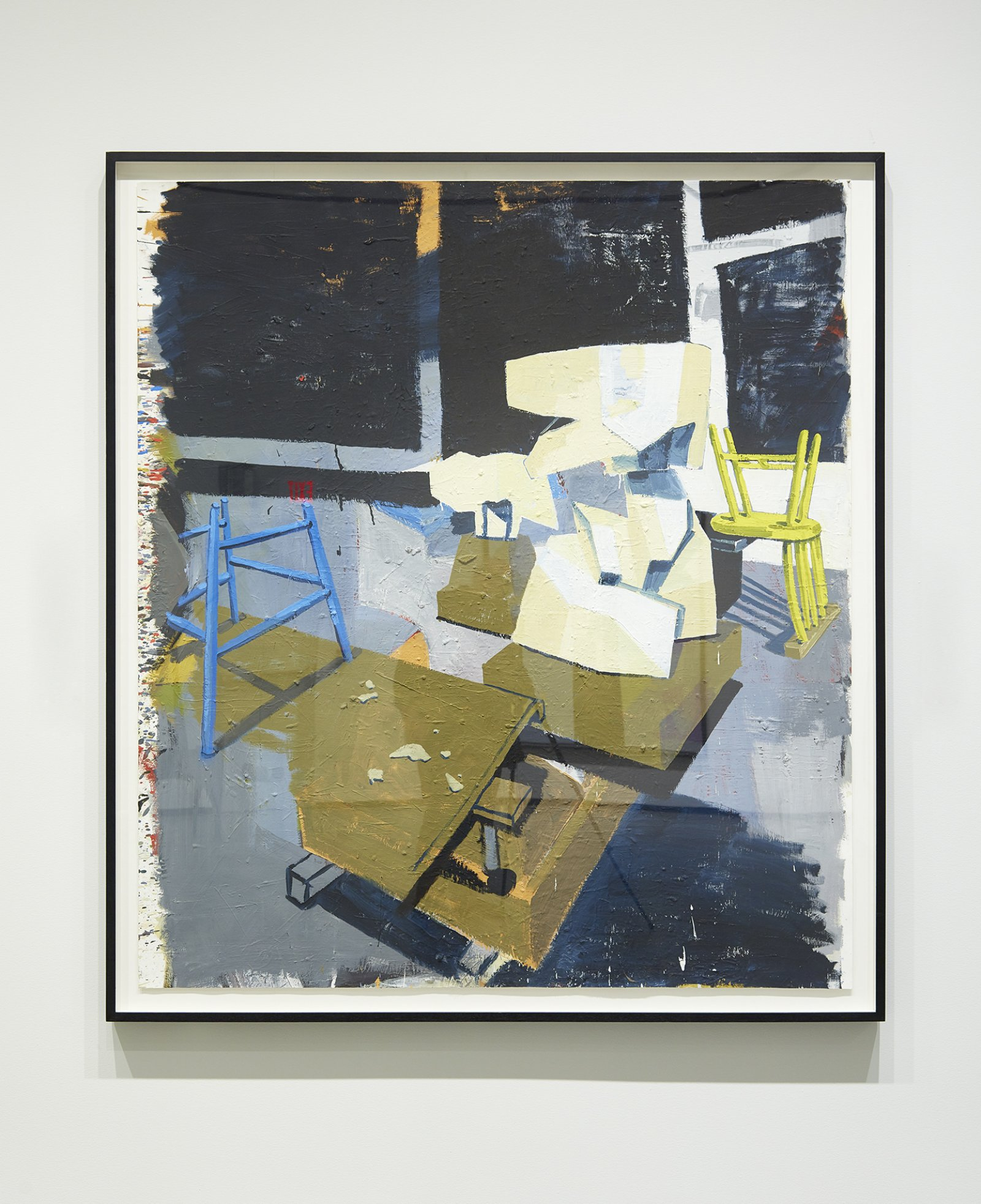 Damian Moppett, Two Plaster Sculptures in Studio with Chairs, 2007, oil on paper, 66 x 59 in. (168 x 149 cm). Installation view, Every Story Has Two Sides, Art Gallery of Alberta, Edmonton, 2016 by Damian Moppett