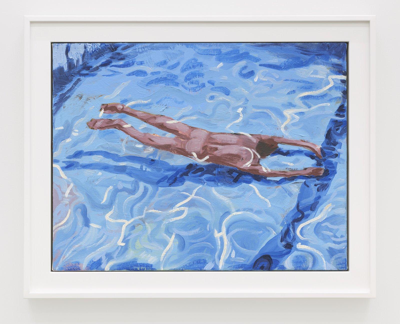 Damian Moppett, Untitled (Blue Pool), 2020, oil on canvas, 20 x 25 in. (51 x 64 cm) by Damian Moppett