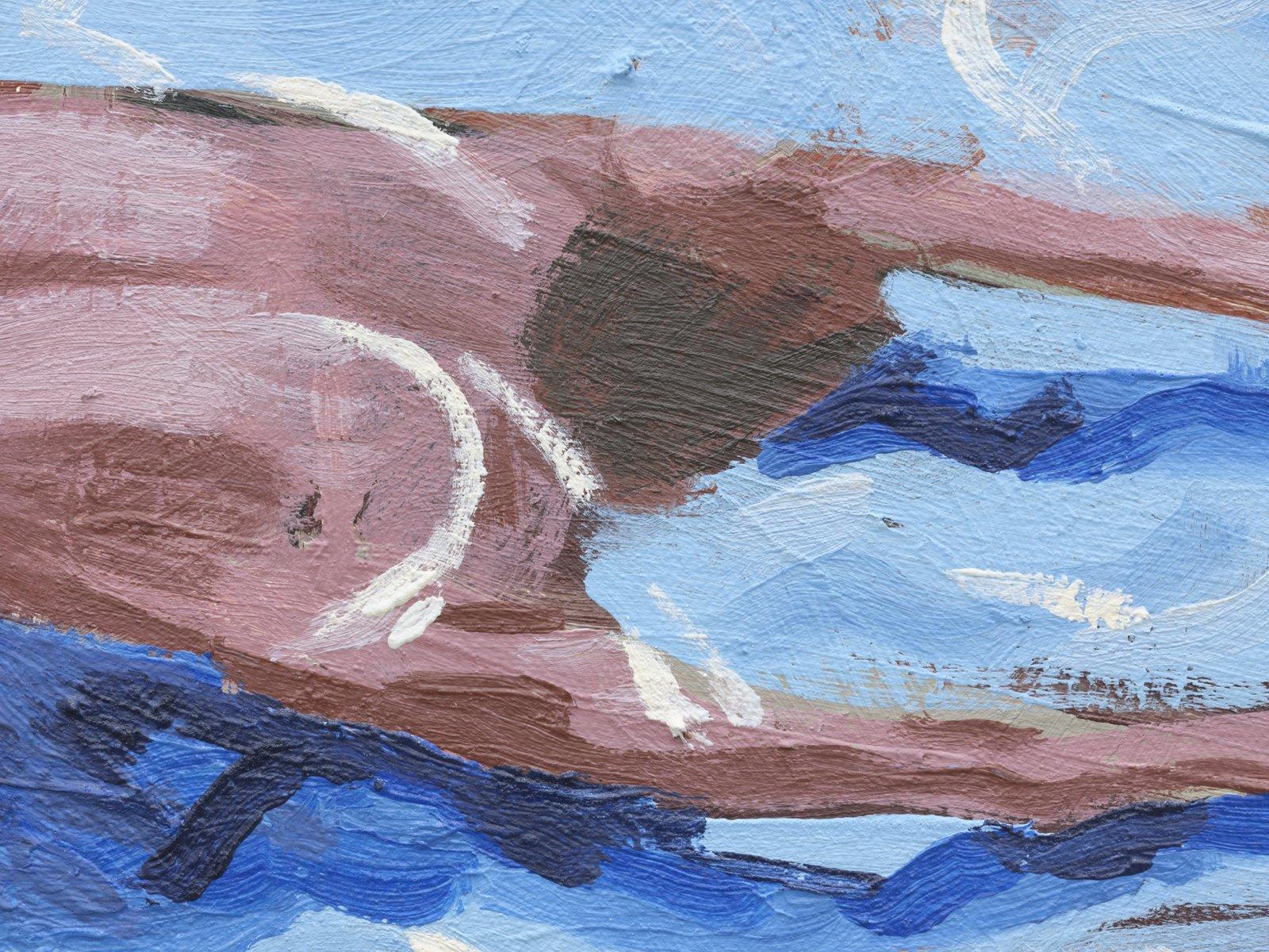 Damian Moppett, Untitled (Blue Pool) (detail), 2020, oil on canvas, 20 x 25 in. (51 x 64 cm) by Damian Moppett