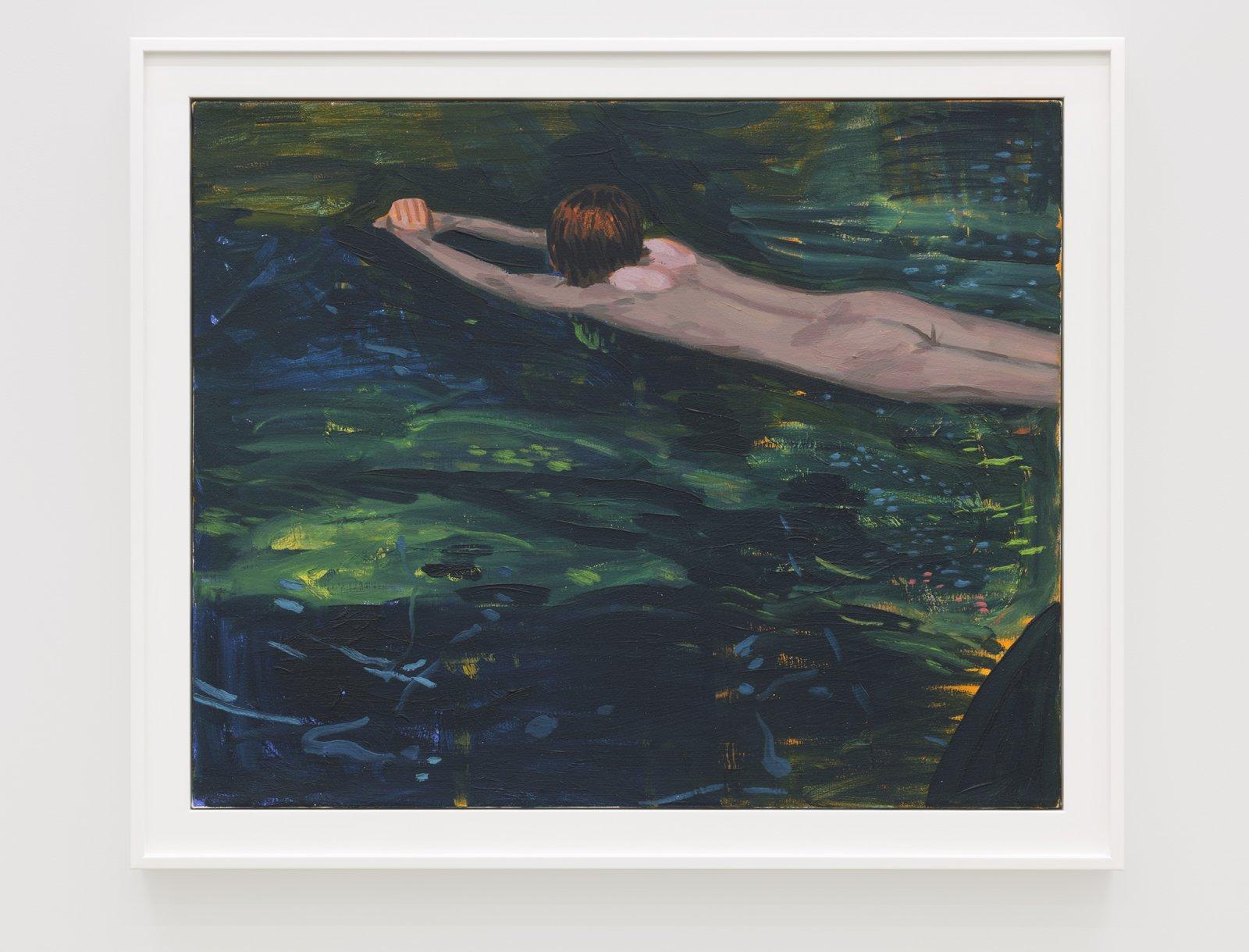 Damian Moppett, Untitled (Green Swimming), 2020, oil on canvas, 27 x 32 in. (69 x 82 cm) by Damian Moppett