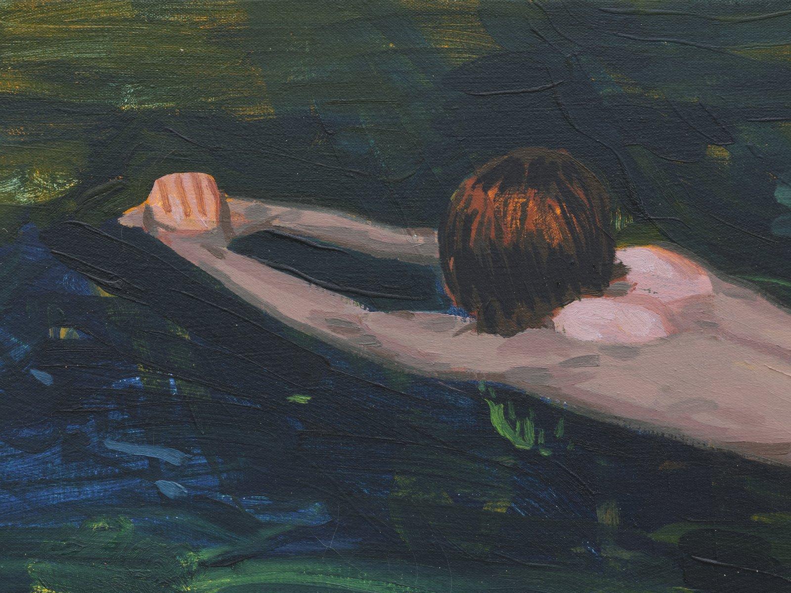 Damian Moppett, Untitled (Green Swimming) (detail), 2020, oil on canvas, 27 x 32 in. (69 x 82 cm) by Damian Moppett