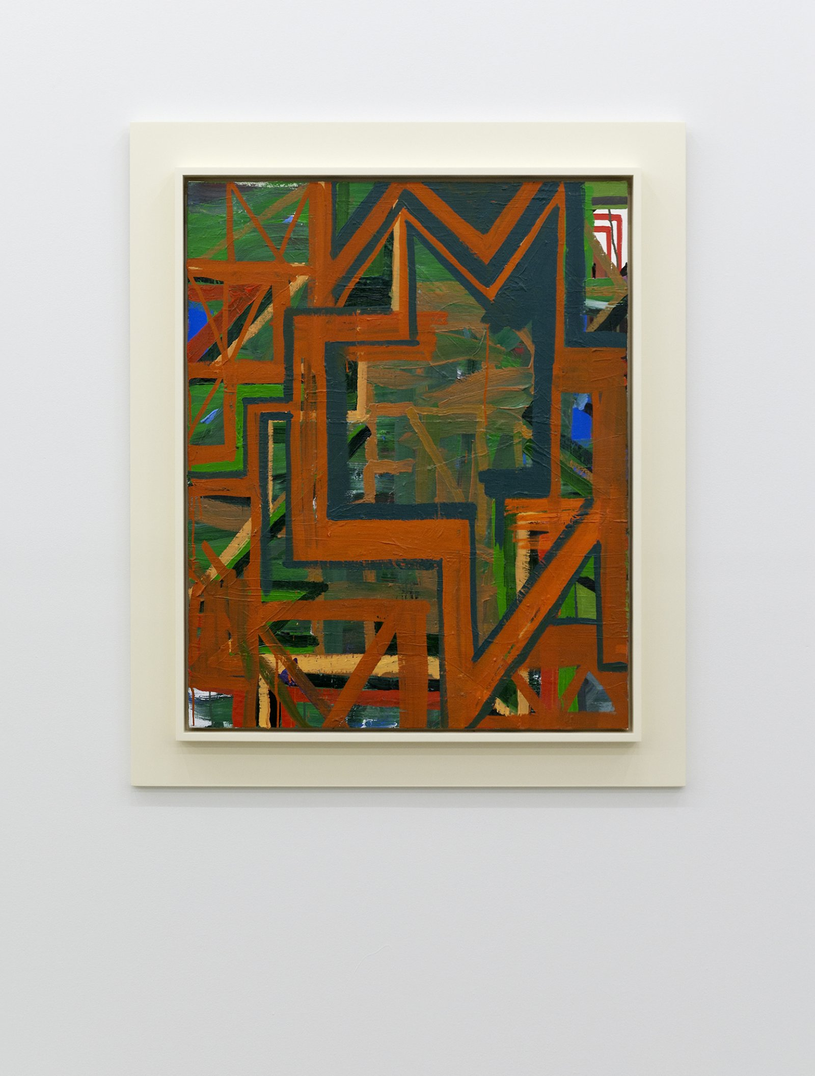 Damian Moppett, Untitled Green and Orange Abstraction, 2010, oil on canvas and wood frame, 42 x 36 in. (107 x 91 cm) by Damian Moppett