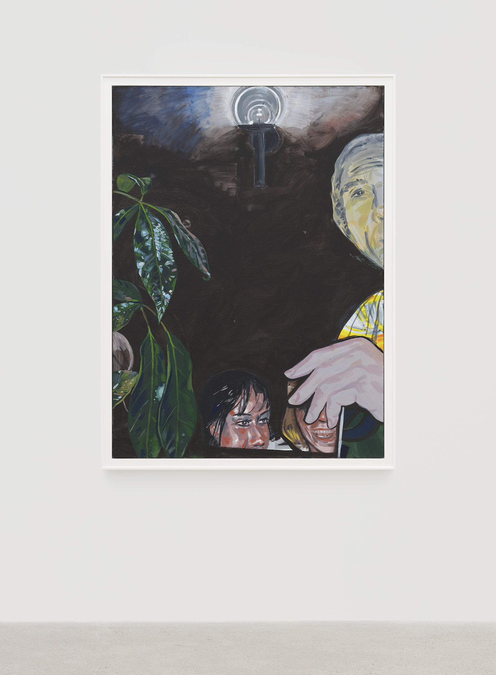 Damian Moppett, Untitled (Party with Plant), 2020, oil on canvas, 67 x 50 in. (170 x 127 cm) by Damian Moppett