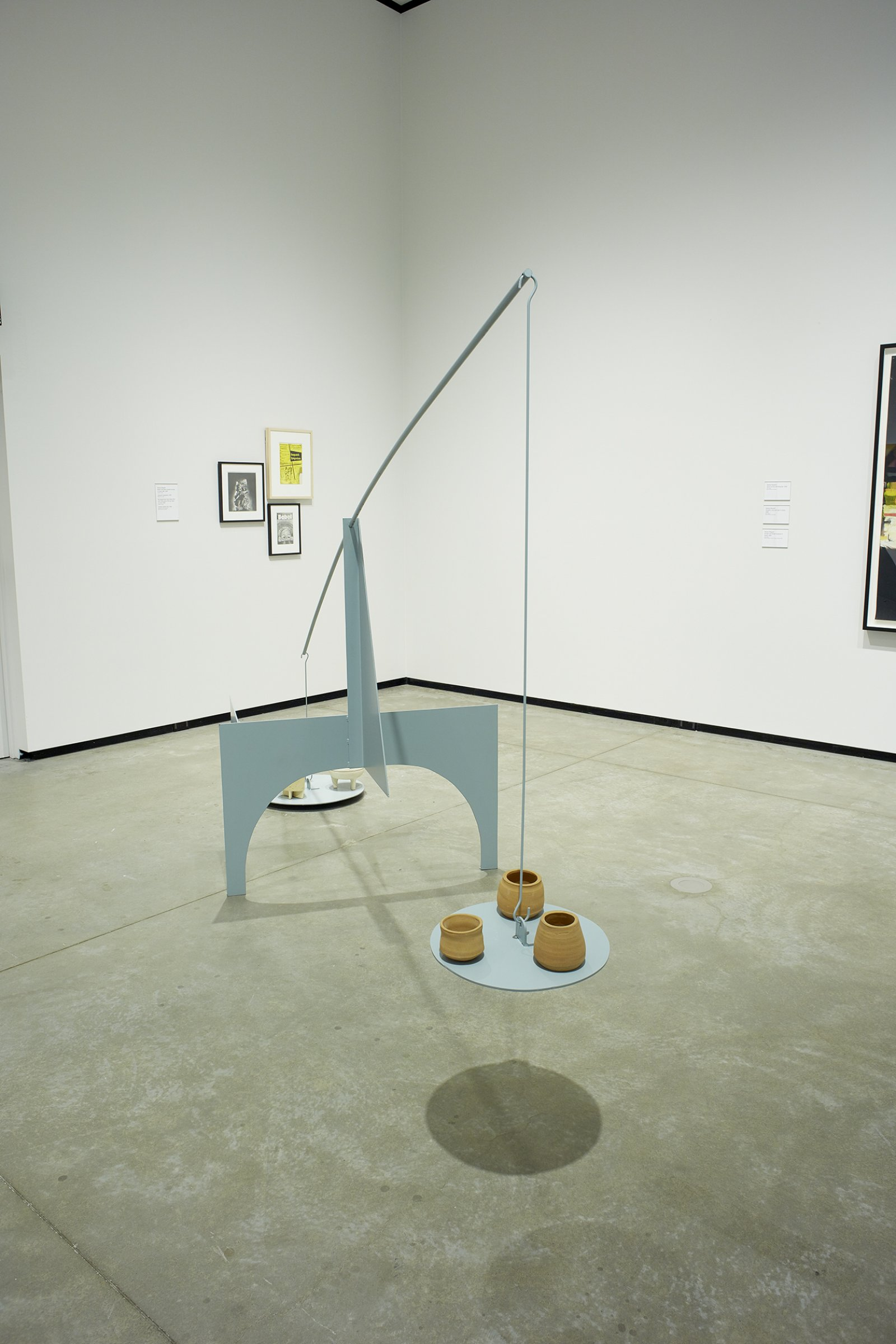 Damian Moppett, Untitled (Stabile C#1), 2005, steel, paint, wire, stoneware, 53 x 40 x 96 in. (135 x 102 x 244 cm). Installation view, Every Story Has Two Sides, Art Gallery of Alberta, Edmonton, 2016 by Damian Moppett