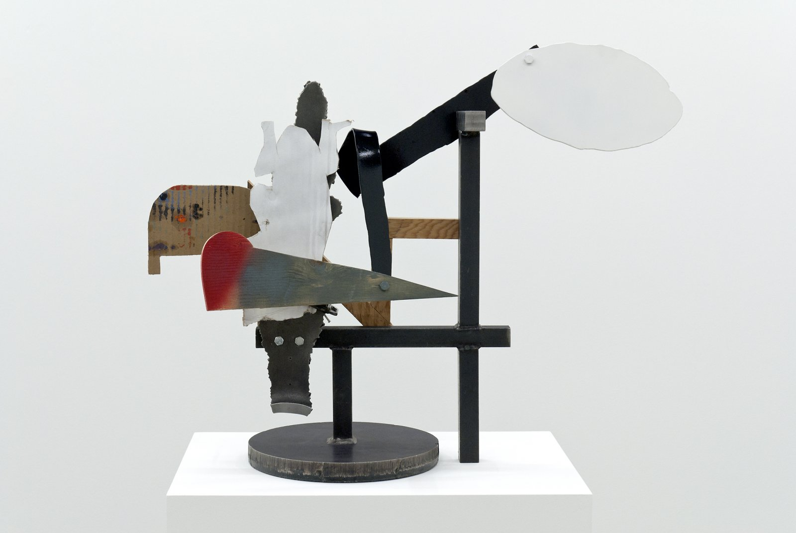 Damian Moppett, Untitled, 2010, steel, wood, cardboard, clamps, 22 x 29 x 8 in. (55 x 72 x 20 cm) by Damian Moppett