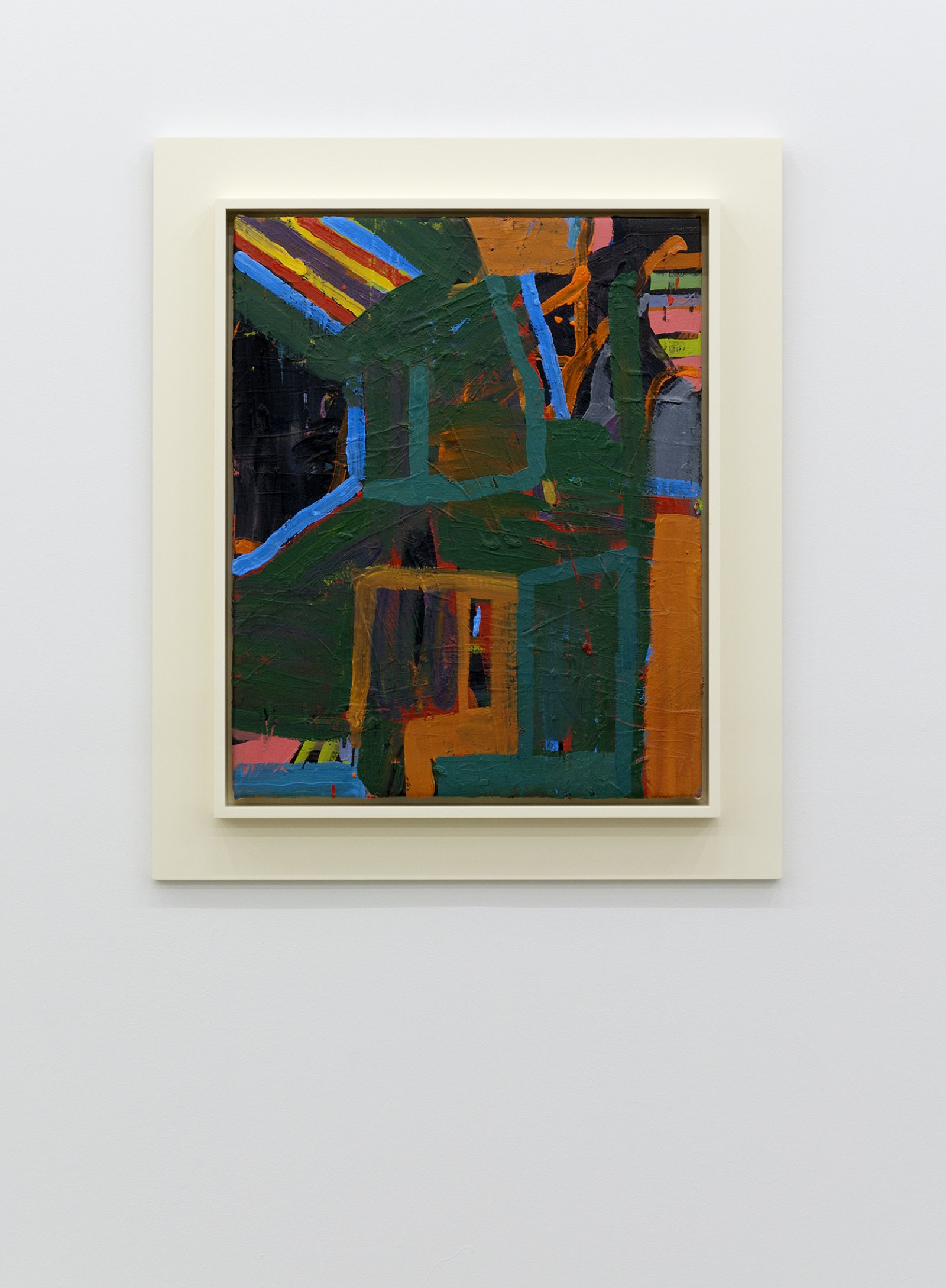 ​Damian Moppett, Untitled Abstraction (Green Box), 2010, oil on canvas and wood frame, 35 x 30 in. (88 x 76 cm) by Damian Moppett