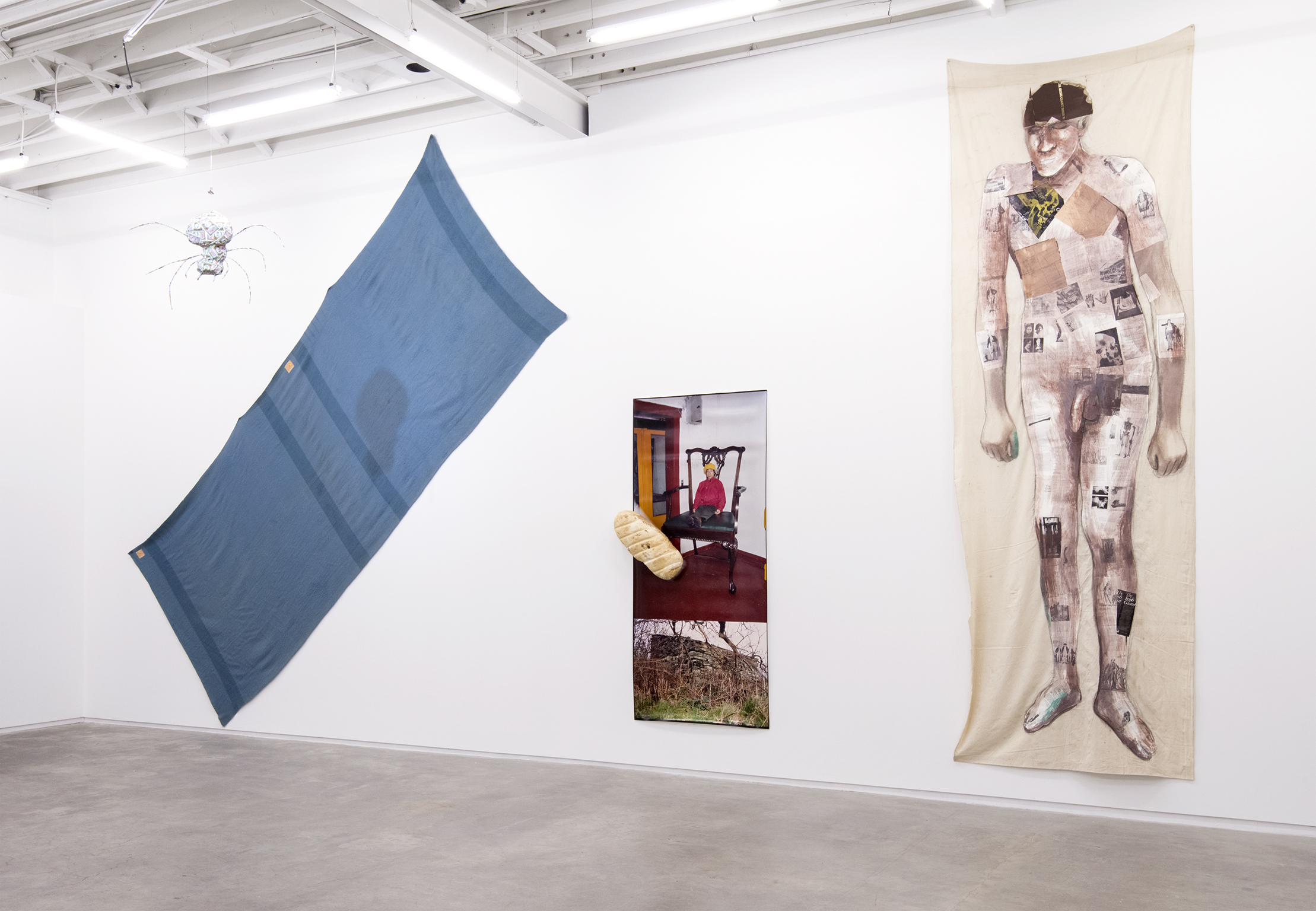 Jerry Pethick, Bigger than a book, Wilder than a Tree, 1994–1997, found book Irish Giant, paint, graphite on linen, styrofoam, cibachrome photograph, wool blanket, spotlight, papier-mâché, metal spider, dimensions variable by