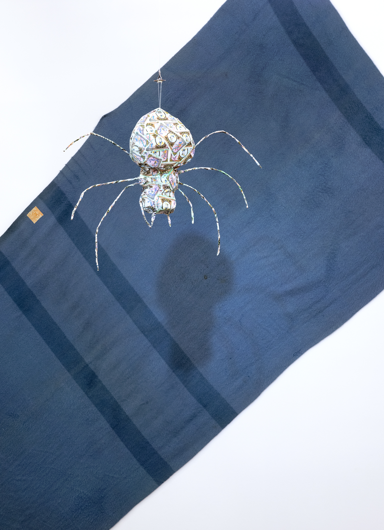 Jerry Pethick, Bigger than a book, Wilder than a Tree (detail), 1994–1997, found book Irish Giant, paint, graphite on linen, styrofoam, cibachrome photograph, wool blanket, spotlight, papier-mâché, metal spider, dimensions variable by