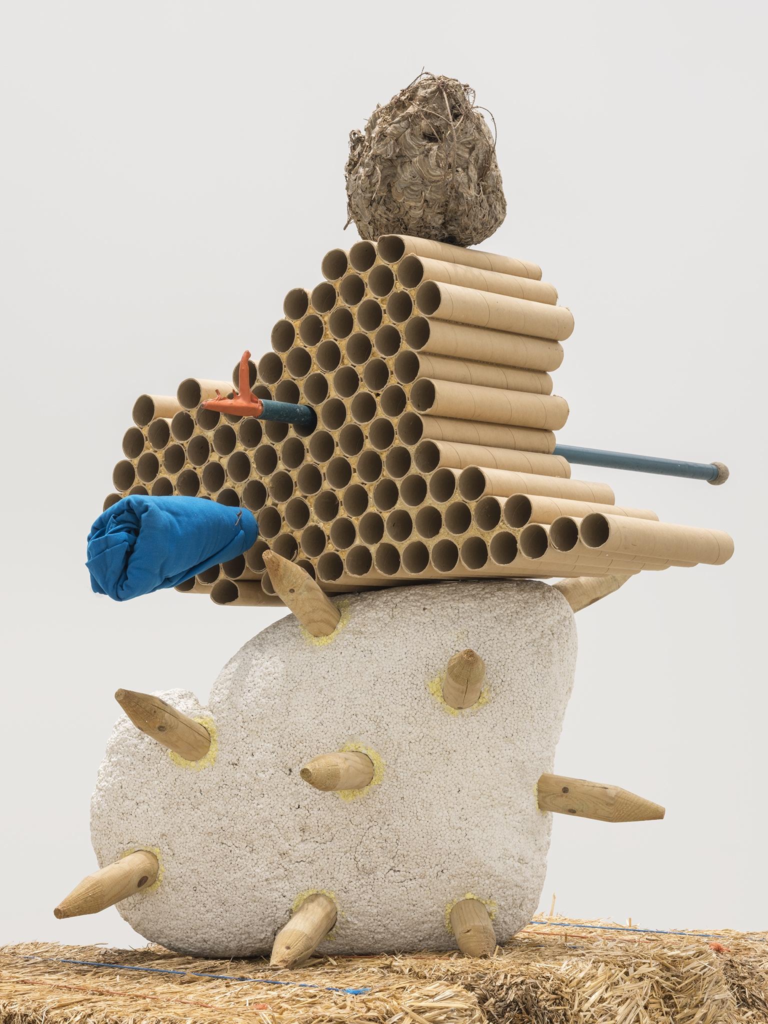 Jerry Pethick, Gobi Clone (detail), 1996/1997, straw bales, styrofoam, wood, cardboard, hornet's nest, anodized aluminum, polypropylene rope, cloth, orange rubber, iron wire, sulphur, dried fir needles, 107 x 55 x 46 in. (272 x 140 x 117 cm) by