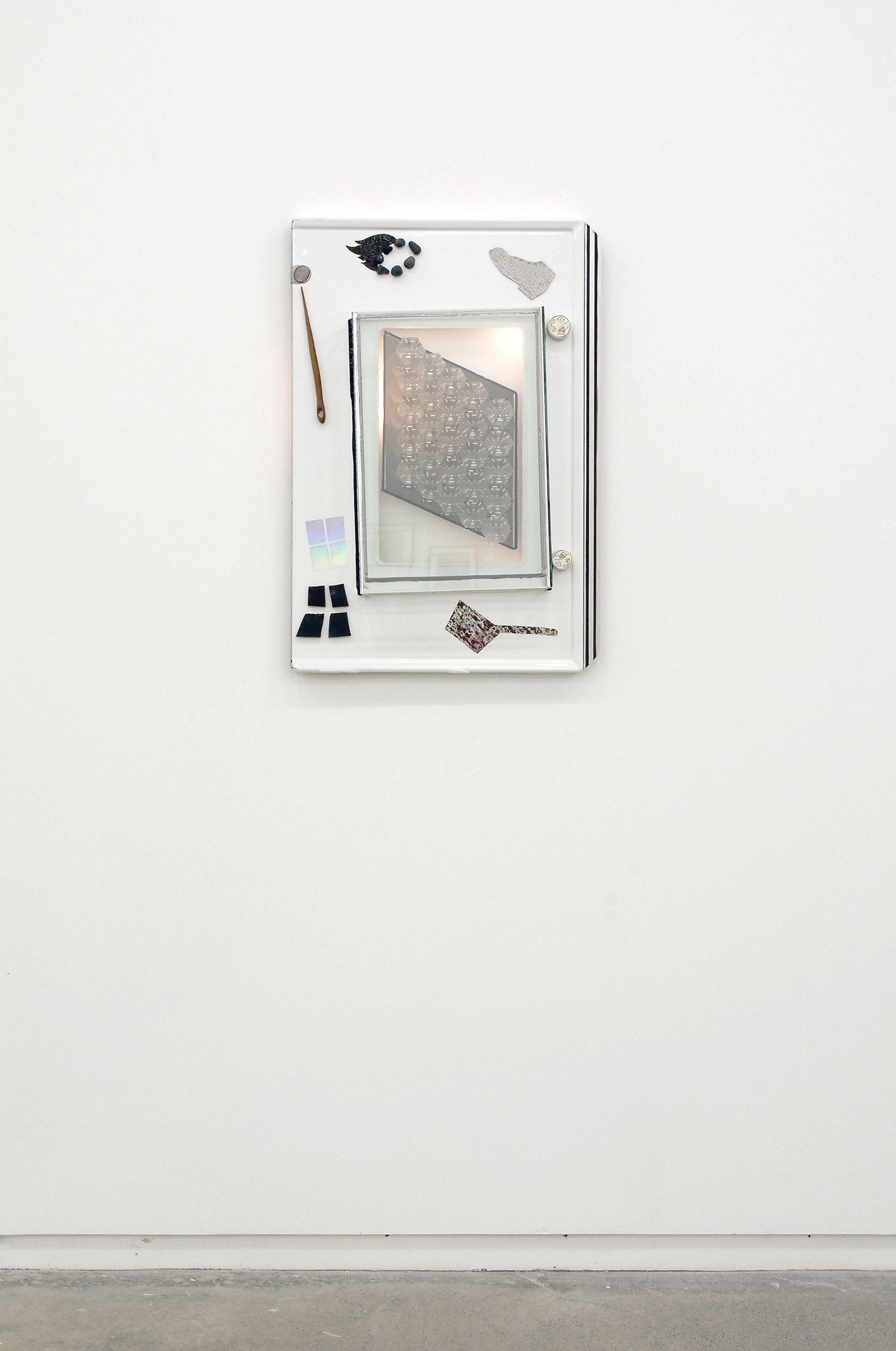 Jerry Pethick, Margaret Yana and The Century Plant, 1970–1988, enamel steel, silicon, spectrfoil, wood, stone, aluminum, plastic, fresnel lens, black and white photography, glass, acrylic paint skin, 30 x 20 x 4 in. (76 x 51 x 11 cm) by