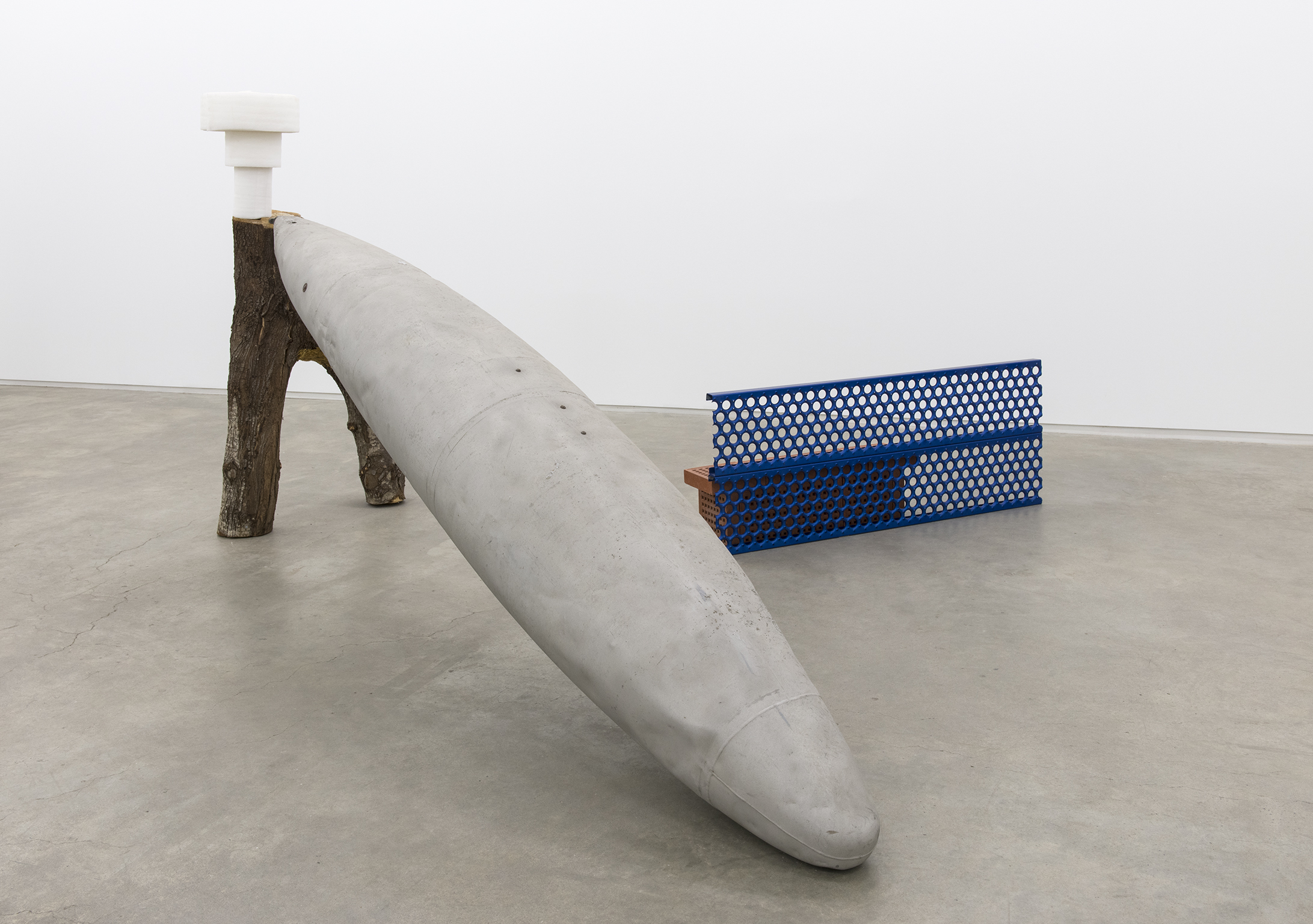 Jerry Pethick, ​Trough​, 2001, wood, plastic, clay, anodized aluminum, sandblasted aluminum​, 70 x 134 x 120 in. (178 x 340 x 305 cm)​ by