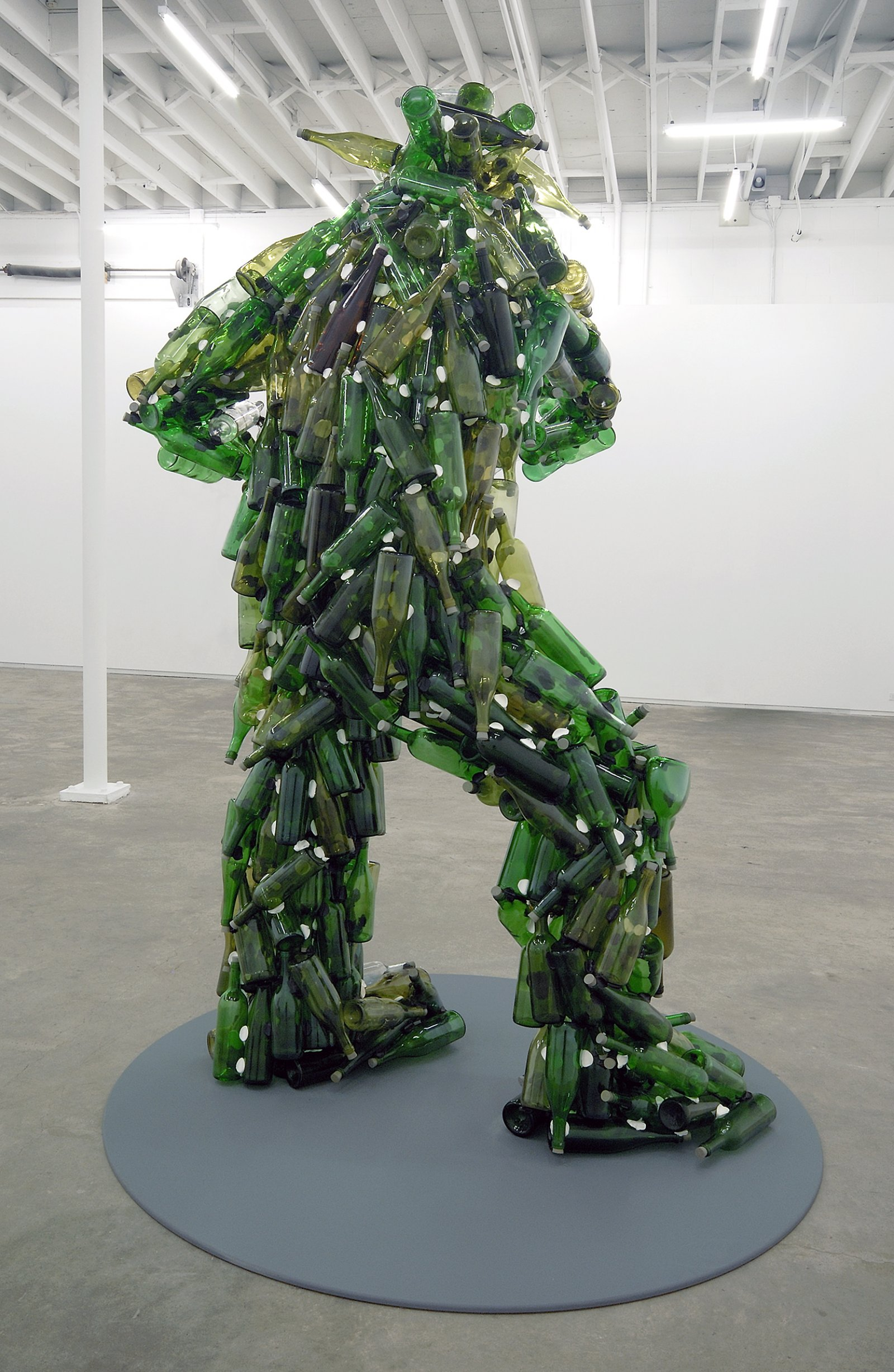 Jerry Pethick, Le Semeur/Sunlight and Flies, 1984–2002, glass bottles, silicone, rubber corks, aluminum, surveillance mirror, 95 x 48 x 43 in. (240 x 122 x 110 cm)   by Jerry Pethick