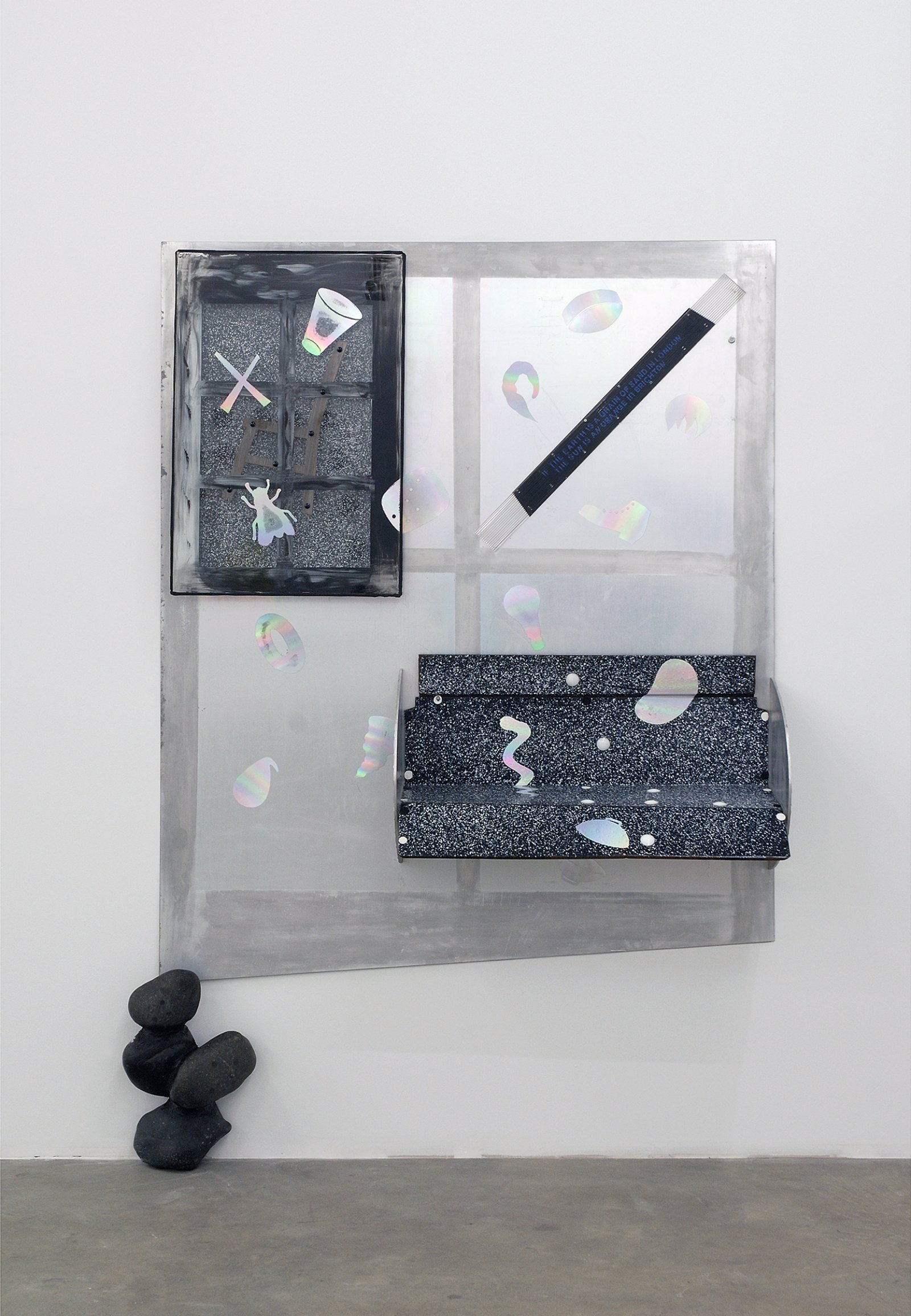 Jerry Pethick, Outskirts, 1987–1988, aluminum, stones, enamelled steel, silicone, spectrafoil, wood, prismatic bakelite, glass, 85 x 56 x 15 in. (215 x 142 x 37 cm)   by Jerry Pethick
