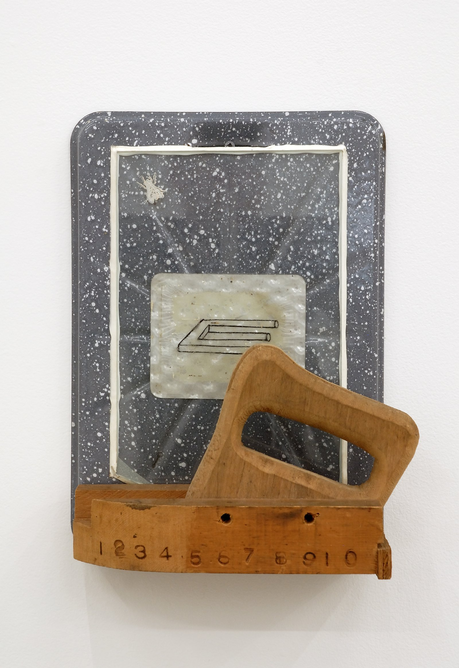 Jerry Pethick, Proximity Device, 1990, enamelled steel broiler, ink drawing on devil's tuning fork on rolux, wood, fly stamp, 13 x 10 x 4 in. (33 x 25 x 10 cm)   by Jerry Pethick