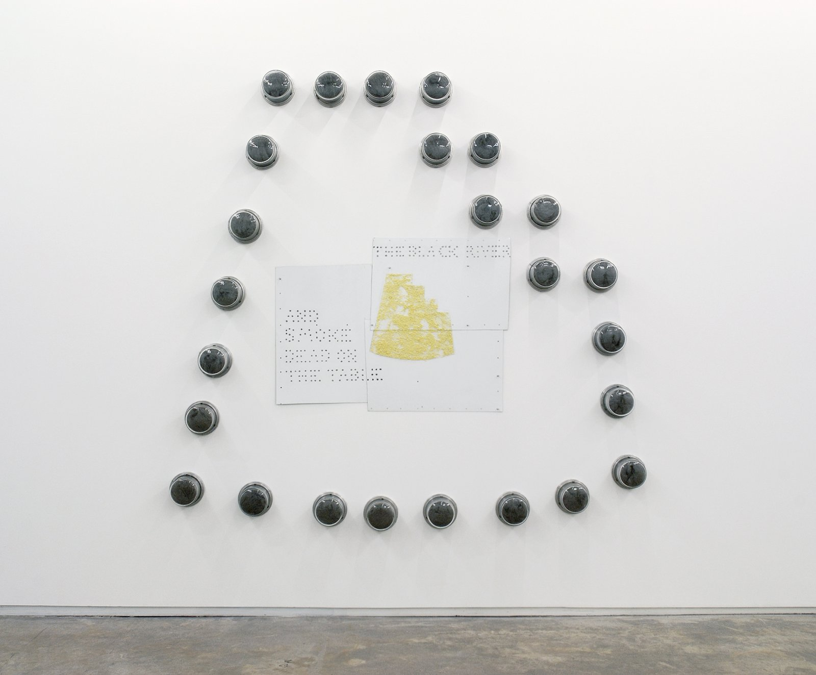 Jerry Pethick, The Last View, 1989, 22 meter covers, steel wool, aluminum, graphite, sulphur, aluminum push-pins, enamelled steel, 106 x 95 x 5 in. (270 x 240 x 12 cm)   by Jerry Pethick