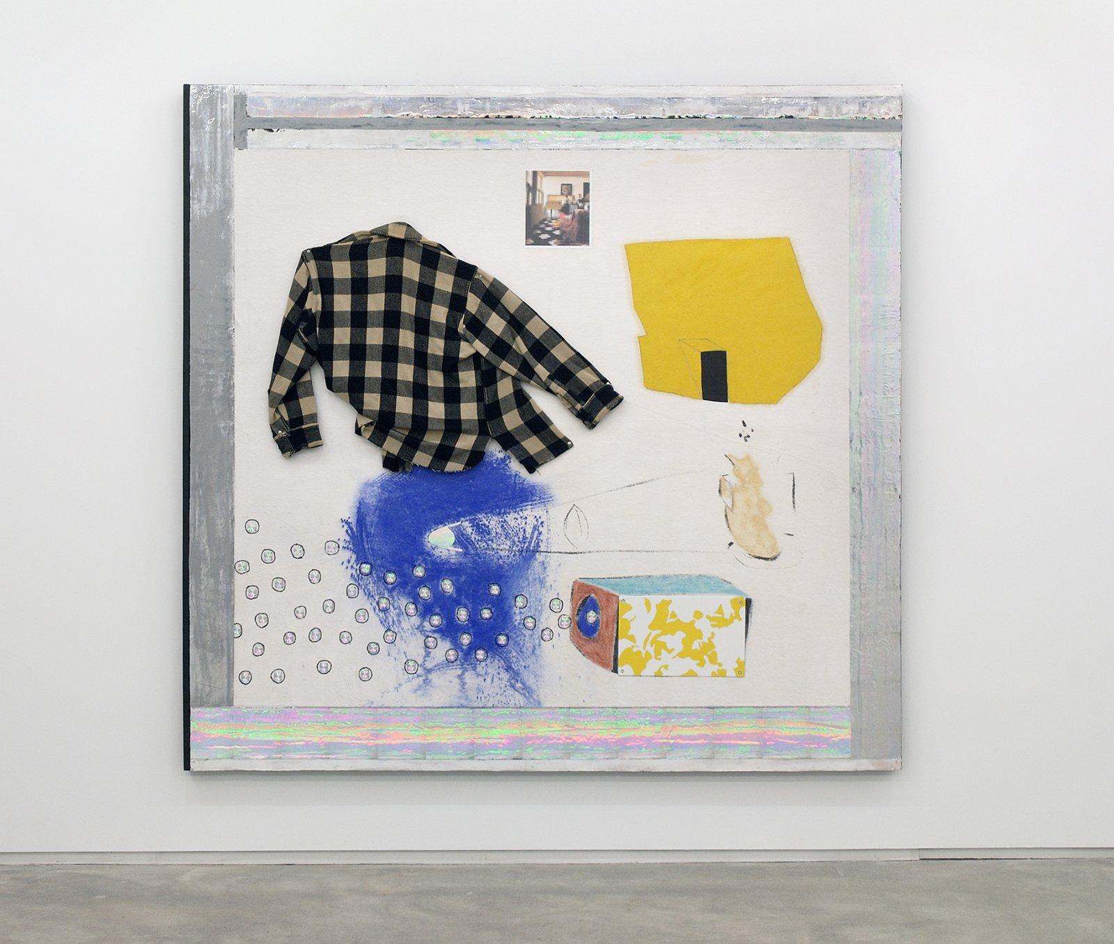 Jerry Pethick, Vermeeror, 1995–1997, wool shirt, spectrafoil, sulphur, chalk, pastel, inkjet print, felt, acrylic paint, aluminum push-pins, 80 x 83 x 3 in. (203 x 211 x 8 cm)   by Jerry Pethick