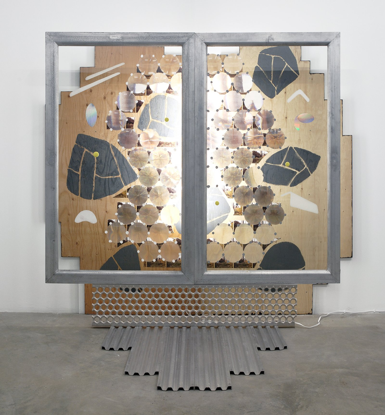 Jerry Pethick, Volklingen Scarab, 1995, aluminum, stainless steel, plywood, 79 photographs, 56 fresnel lenses, glass, fluorescent light fixture, spectrafoil, silicone, acrylic paint, 96 x 84 x 53 in. (244 x 213 x 135 cm)   by Jerry Pethick