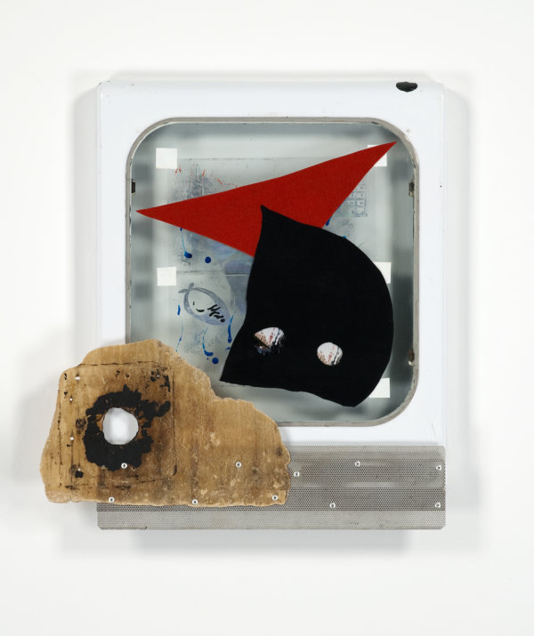 ​Jerry Pethick, Holed Out, 1994, fiberglass, felt, aluminum, enamelled steel, spectrafoil, paint, silicone, 25 x 23 x 2 in. (63 x 59 x 6 cm)​