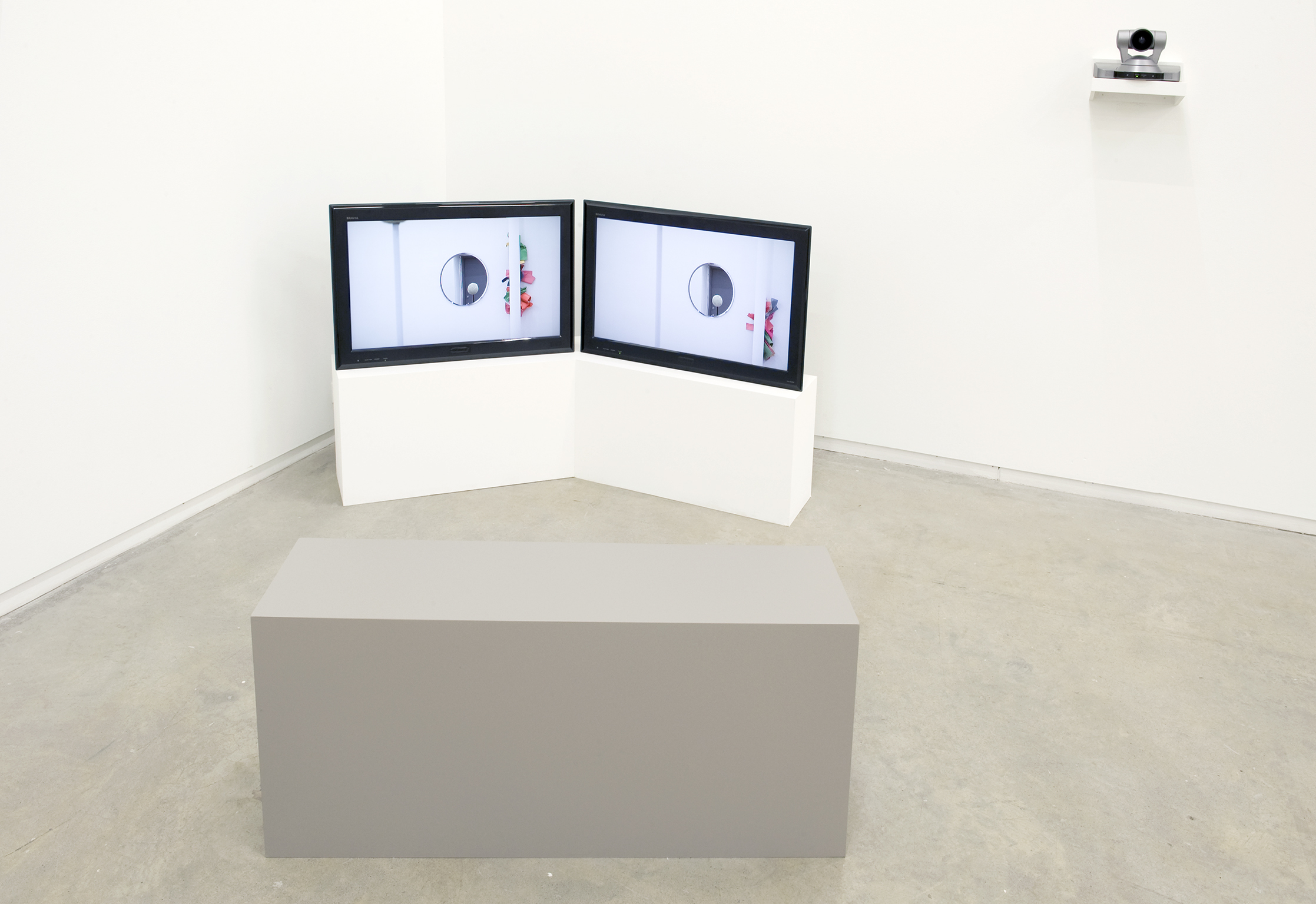 Judy Radul, Clients and Workers, 2011, live and pre-recorded video, objects, tape, painted copper and aluminum, dimensions variable by
