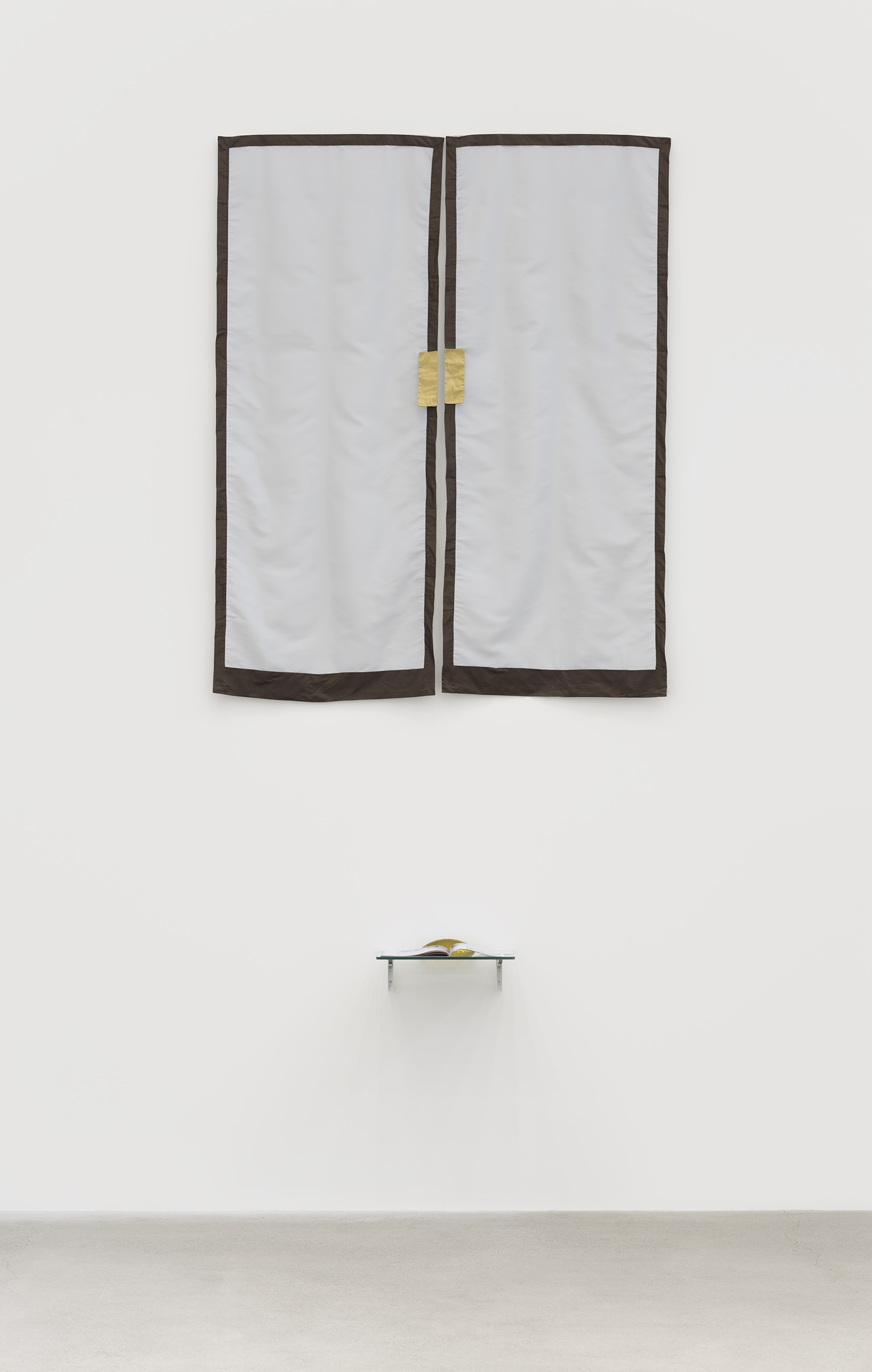 "​​Judy Radul, Kings Never Touch Doors, 2017–2019, fabric panels, pressed glass, ""Dedicated to Swinging Thoughts"" artist's magazine, glass shelf, dimensions variable​ by"