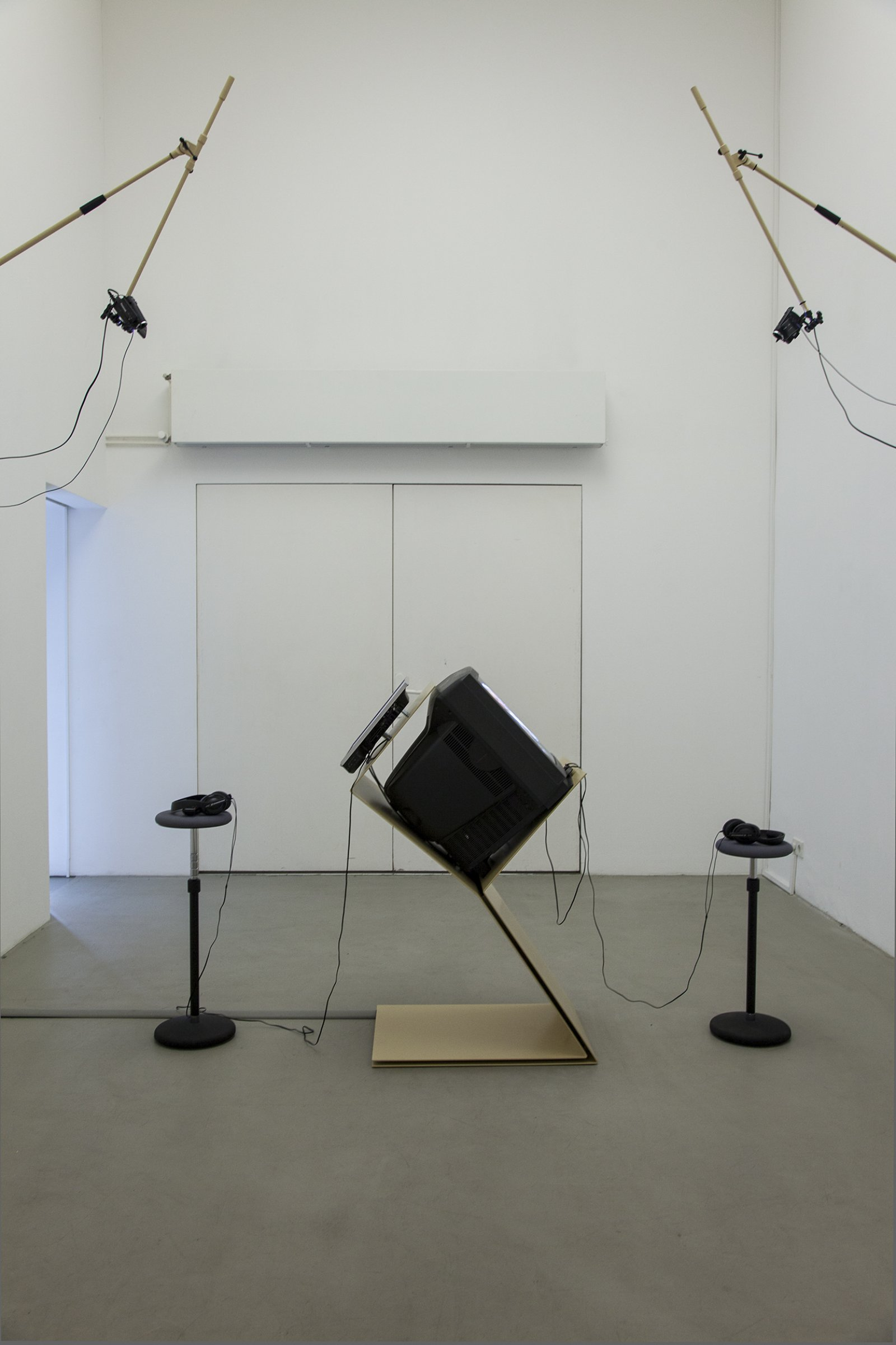Judy Radul, A CONTAINER CONTAINING NOT ONE TV, 2013, powder coated steel, CRT television, 2 flatscreen televisions, local television signal, remote control, two live video cameras, maxmsp patch, dimensions variable by Judy Radul