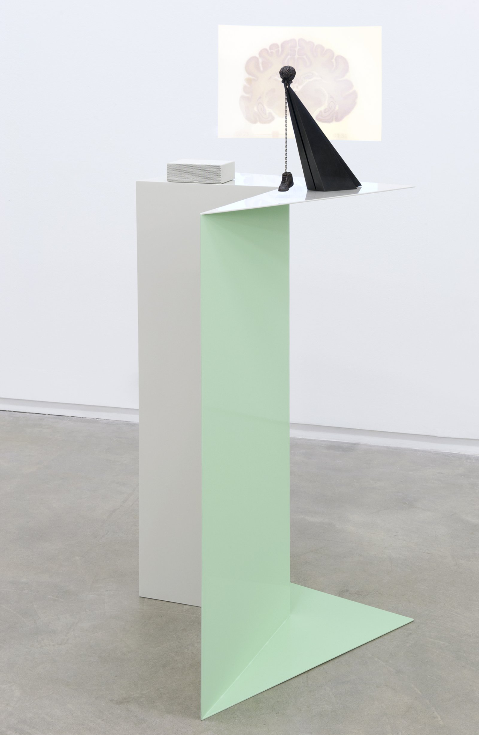 Judy Radul, Midtown Plaza-end of the autopsy, 2011, steel, bronze, LED video projector, string, 54 x 27 x 25 in. (136 x 69 x 62 cm) by Judy Radul