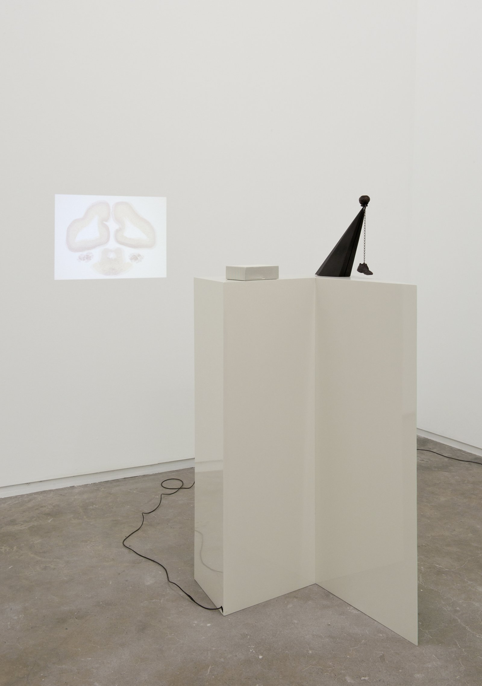 Judy Radul, Midtown Plaza-end of the autopsy, 2011, steel, bronze, LED video projector, string 54 x 27 x 25 in. (136 x 69 x 62 cm)   by Judy Radul