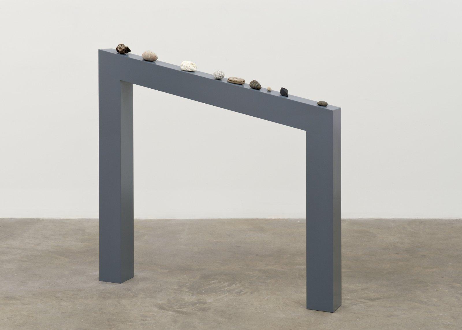Judy Radul, Motivation, 2012, rocks, wood 45 x 44 x 5 in. (114 x 110 x 11 cm) by Judy Radul