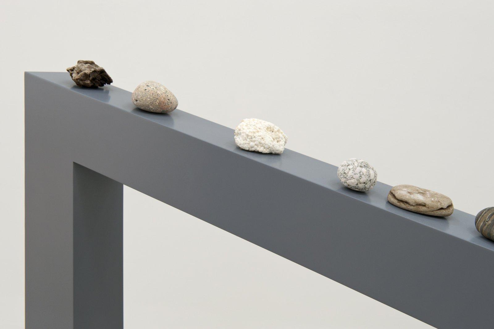 Judy Radul, Motivation (detail), 2012, rocks, wood, 45 x 44 x 5 in. (114 x 110 x 11 cm) by Judy Radul
