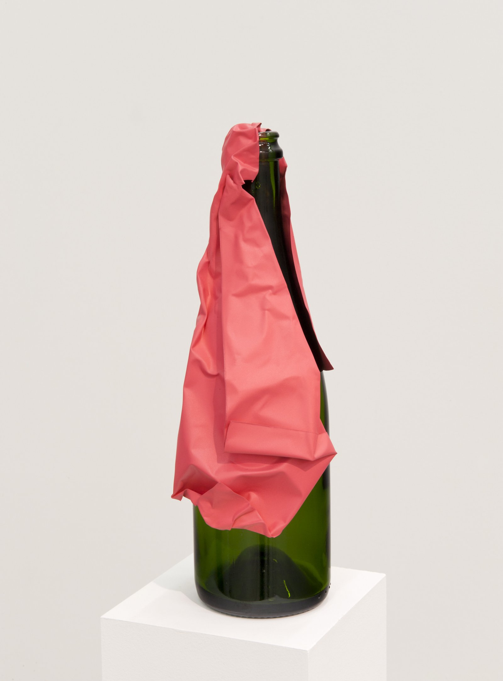 ​Judy Radul, Object Analysis Spectator Poem (Bottle), 2012, painted copper, green glass bottle, colour photograph, bottle: 13 x 4 x 4 in. (32 x 9 x 9 cm), photo: 8 x 11 x 5 in. (20 x 28 x 13 cm)   by Judy Radul