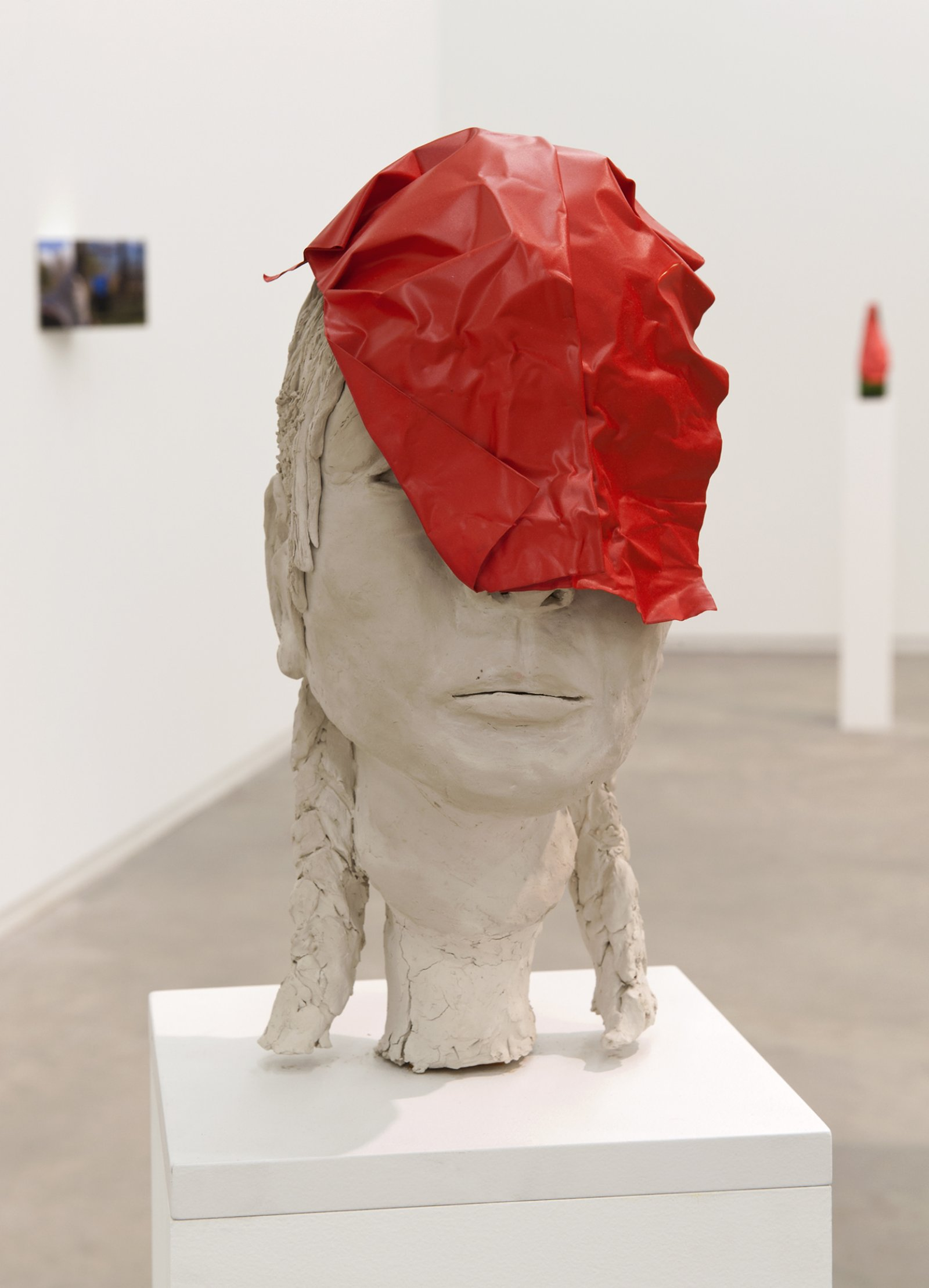 Judy Radul, Object Analysis Spectator Poem (Bust), 2012, painted copper, clay bust, colour photograph on angled mount, bust: 14 x 9 x 9 in. (36 x 23 x 23 cm), plinth: 41 x 9 x 9 in. (104 x 28 x 23 cm), photo: 8 x 11 x 5 in. (20 x 28 x 73)   by Judy Radul