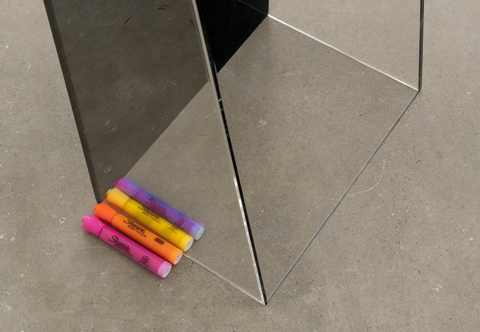 Judy Radul, Postmodern Screen (detail), 2012, plexiglass, Screen Magazine (1987), highlighters, 56 x 14 x 17 in. (142 x 36 x 43 cm) by Judy Radul