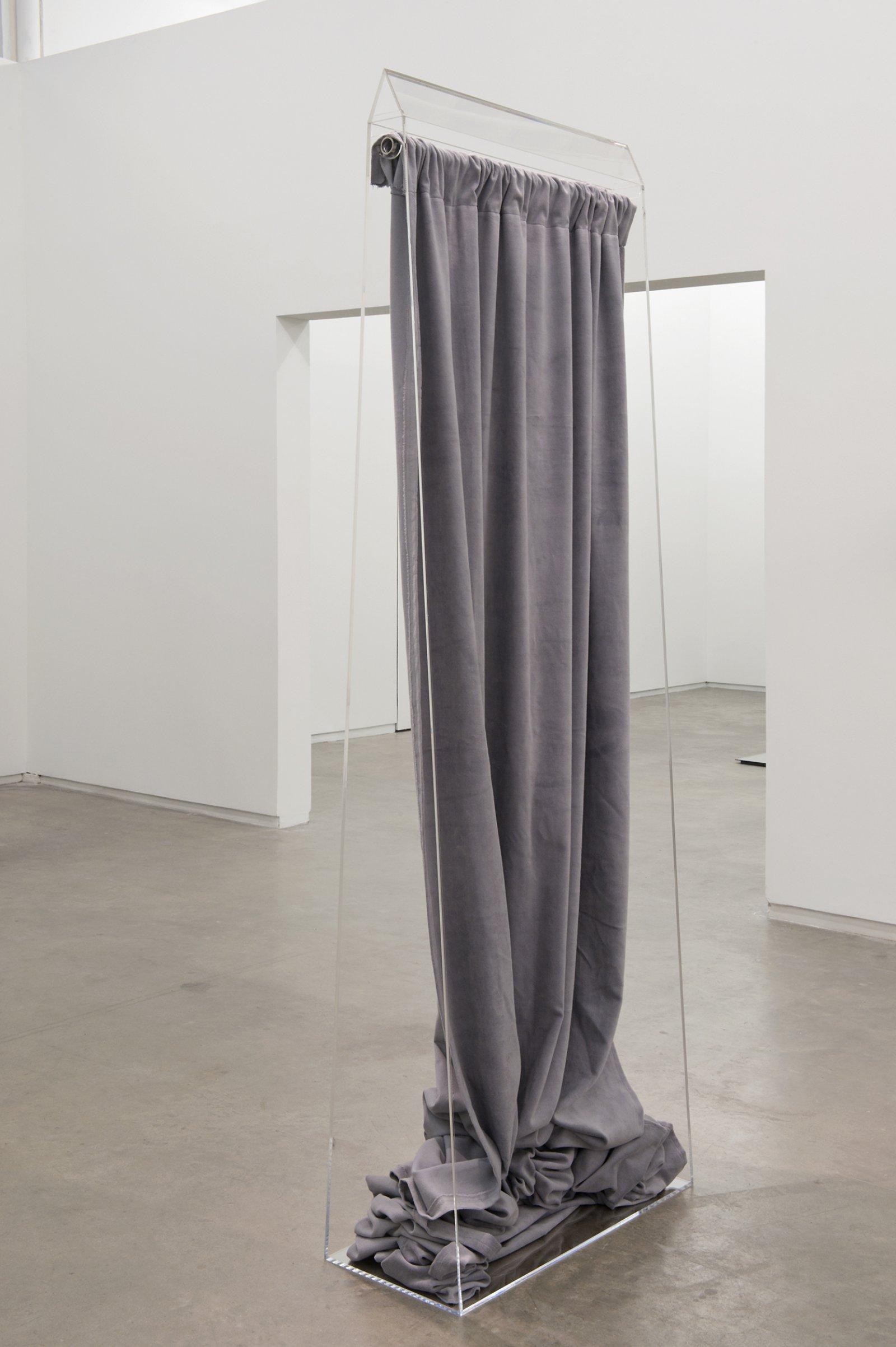 Judy Radul, Silver Screen, 2012, plexiglass, 16 foot theatrical curtain, 88 x 30 x 13 in. (224 x 76 x 33 cm) by Judy Radul