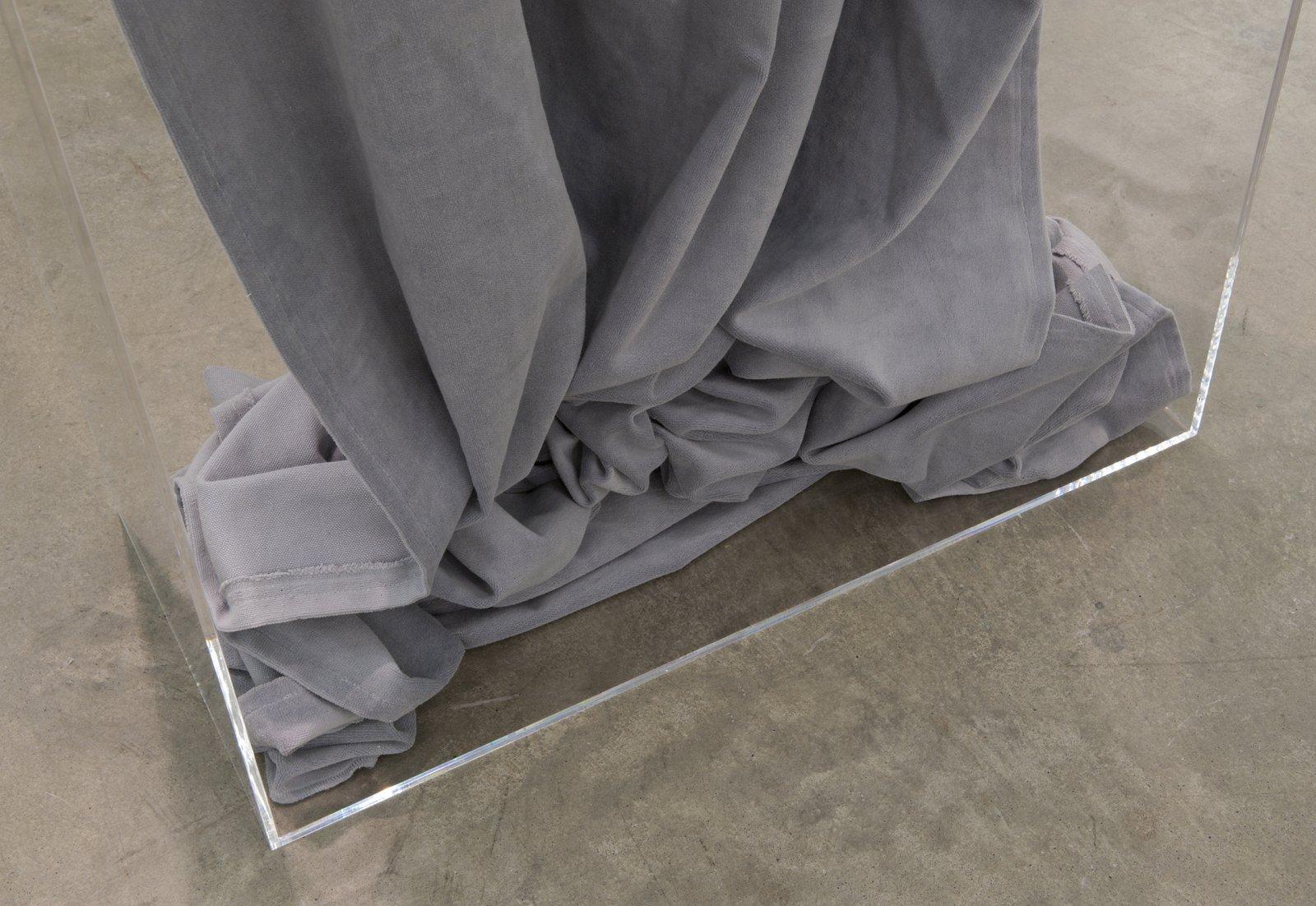 Judy Radul, Silver Screen (detail), 2012, plexiglass, 16 foot theatrical curtain, 88 x 30 x 13 in. (224 x 76 x 33 cm) by Judy Radul