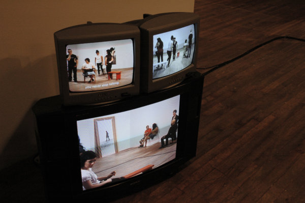 Judy Radul, Proposal for Ghost Pass Rehearsal Park (detail), 2006, mixed media, dimensions variable. Installation view, Oboro	Gallery, Montreal, QC, 2006
