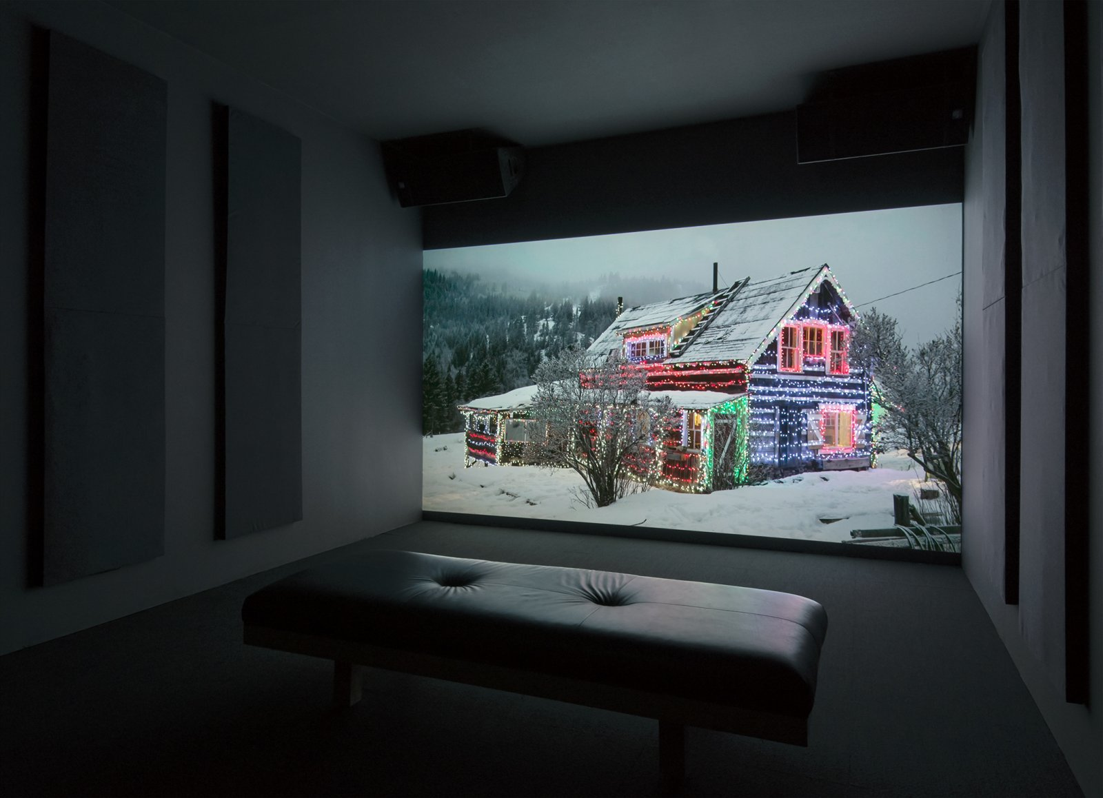 Kevin Schmidt, EDM House, 2014, HD video, 16 minutes, 54 seconds. Installation view, The Commons, Kamloops Art Gallery, Kamloops, Canada, 2015