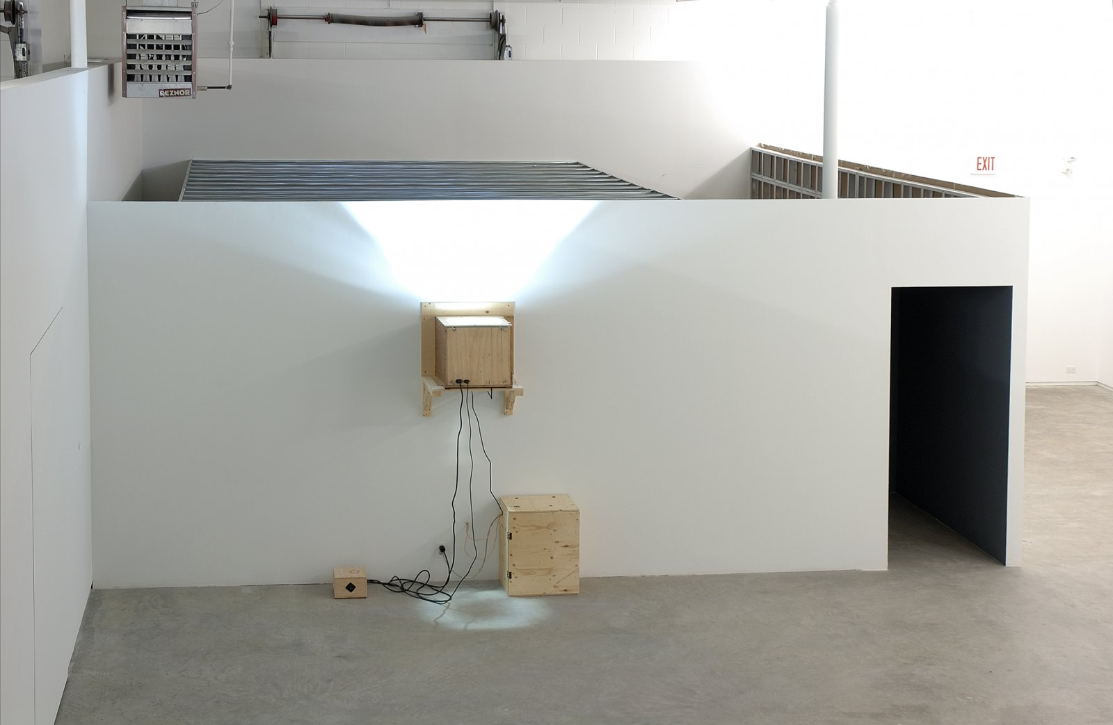 Kevin Schmidt, Sad Wolf, 2006, DIY projection installation, 4 minutes, 11 seconds. Installation view, Catriona Jeffries, Vancouver, 2006 by Kevin Schmidt