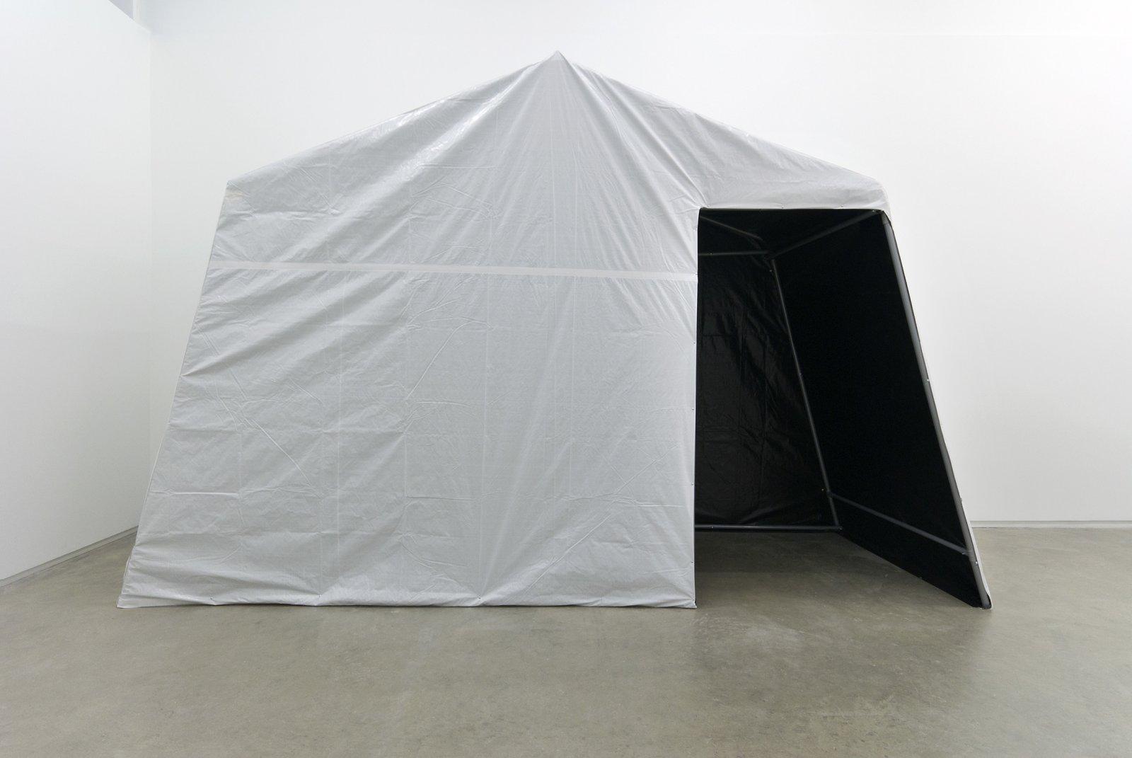 Kevin Schmidt, Temporary Lightlock, 2010, tarp, portable garage frame, 189 x 259 x 105 in. (480 x 658 x 267 cm) by Kevin Schmidt