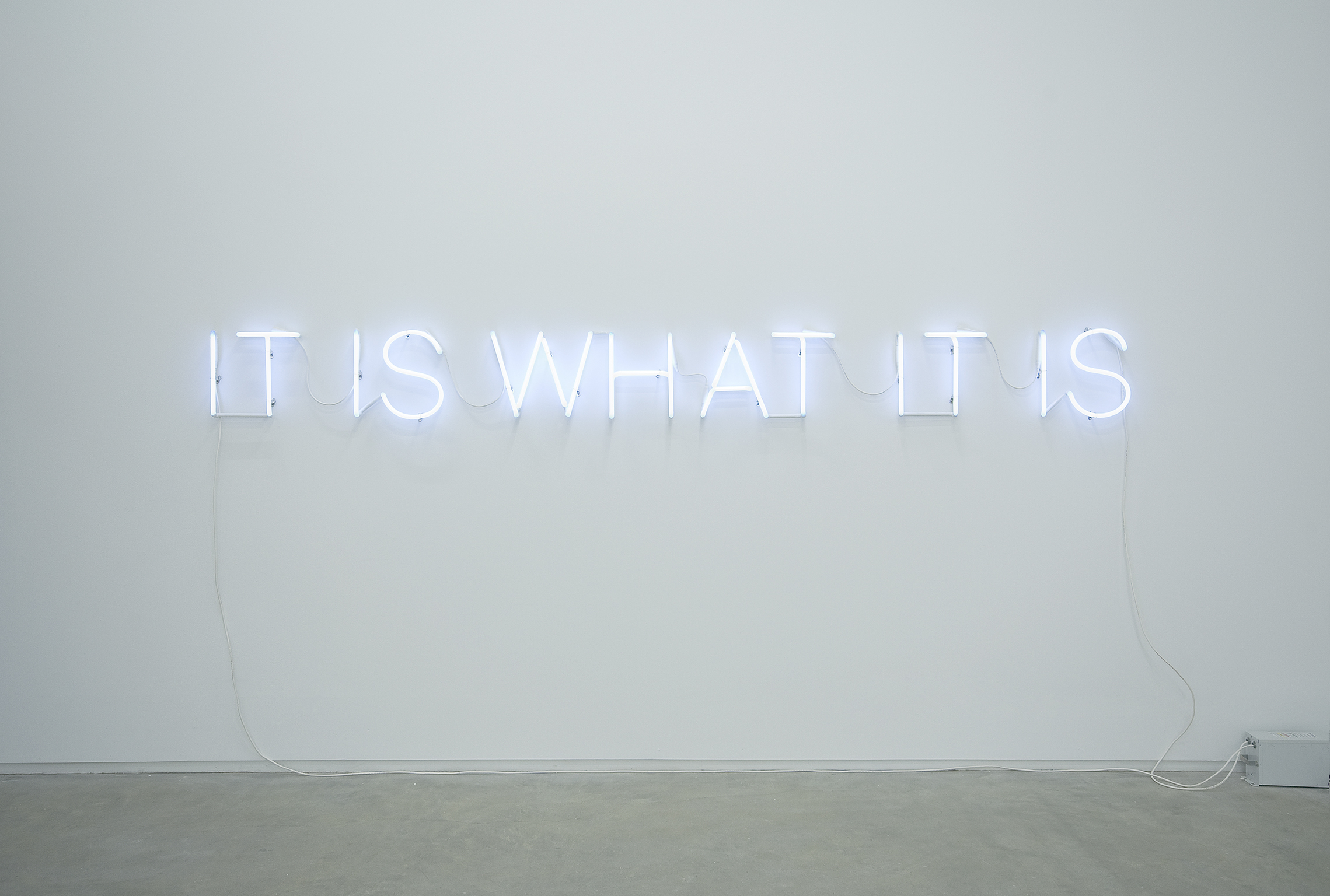 Ron Terada, It Is What It Is, It Was What It Was, 2008, 15mm white neon, 12 x 130 in. (31 x 330 cm) by