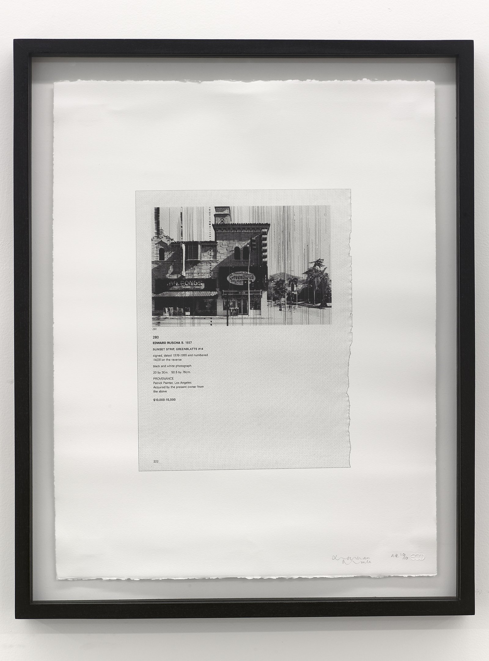 "Ron Terada, For Sale: Jonathan Monk, ""The Sun Never Really Sets"", 2007, silkscreen print on rag paper, 26(h) x 20(w) inches, A.P. 10/10, collection of Ron Terada, Vancouver, 2007, silkscreen rag on paper, 26 x 20 in. (66 x 51 cm)"