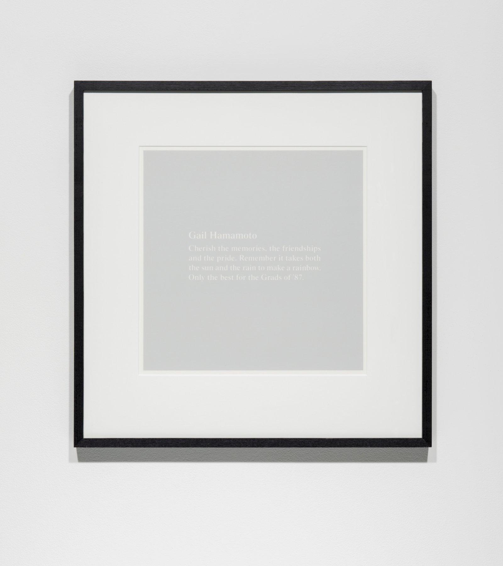 Ron Terada,Grey Painting (Gail Hanamoto…), 1996–1997, acrylic on thermal-resin paper, 24 x 24 in. (60 x 61 cm)