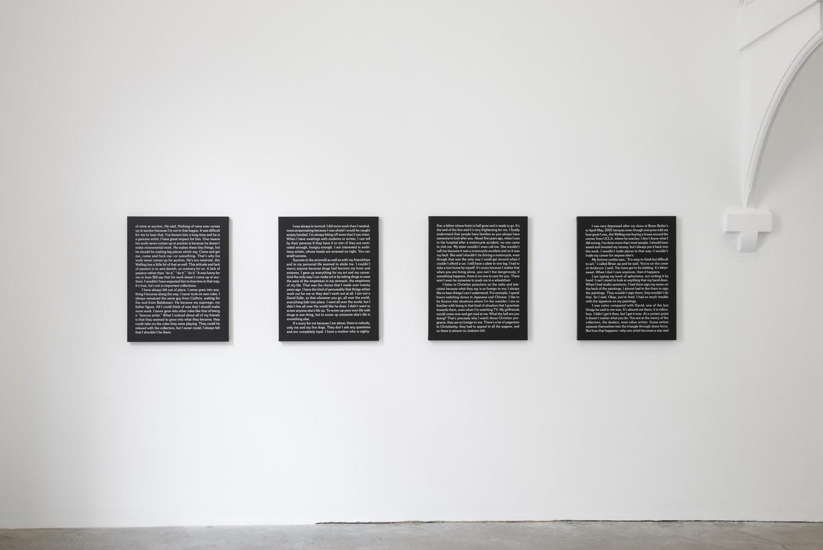 Ron Terada,Jack, 2010, acrylic on canvas, each30 x 24 in. (76 x 61 cm). Installation view,Who I Think I Am, Ikon Gallery, Birmingham, UK, 2010