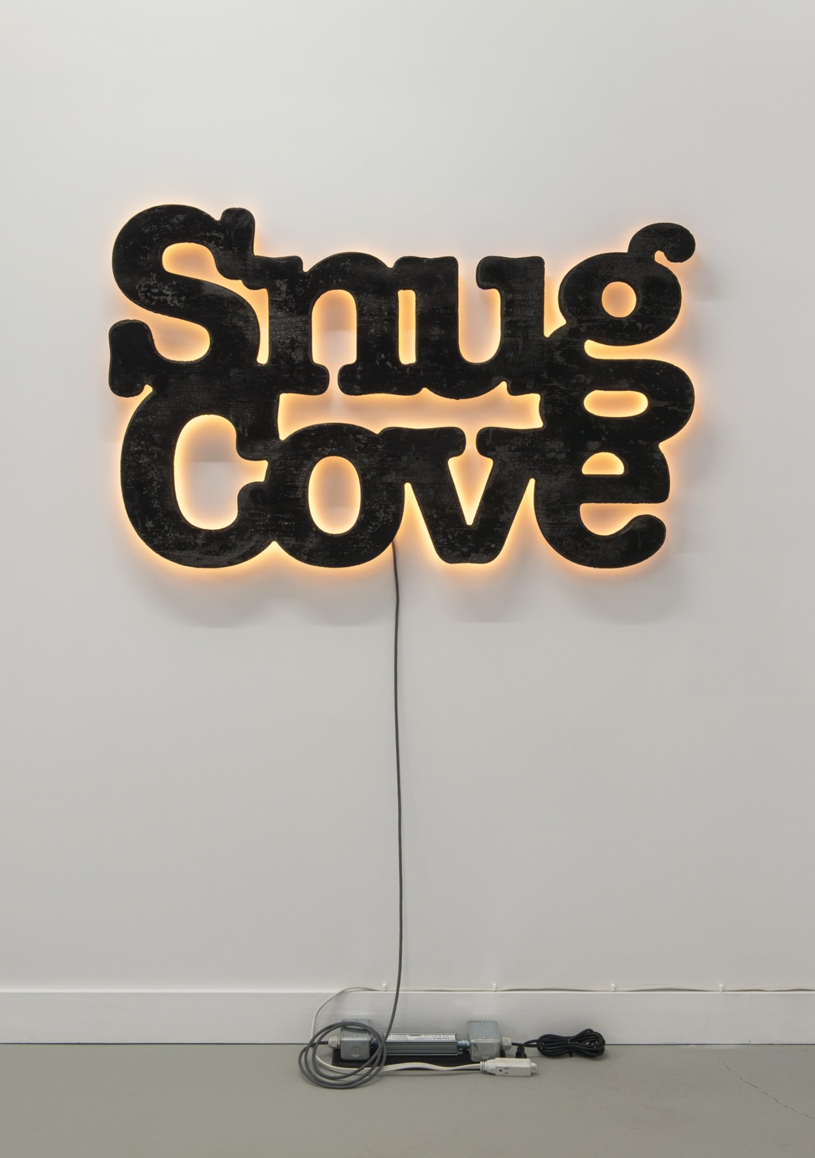 Ron Terada, Snug Cove, 2018, charred cedar, led, electronics, 30 x 48 in. (76 x 121 cm)