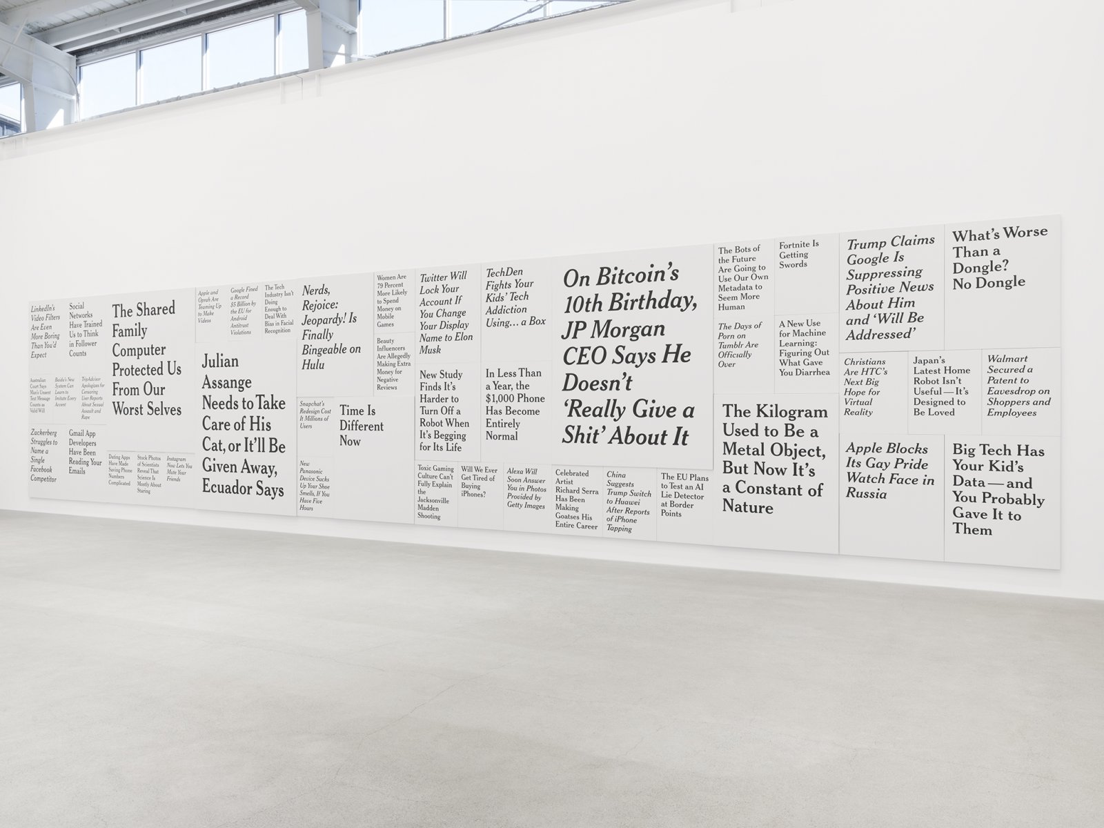 Ron Terada, TL; DR 3, 2018–2019, 44 paintings, acrylic on canvas, 120 x 552 in. (305 x 1403 cm)