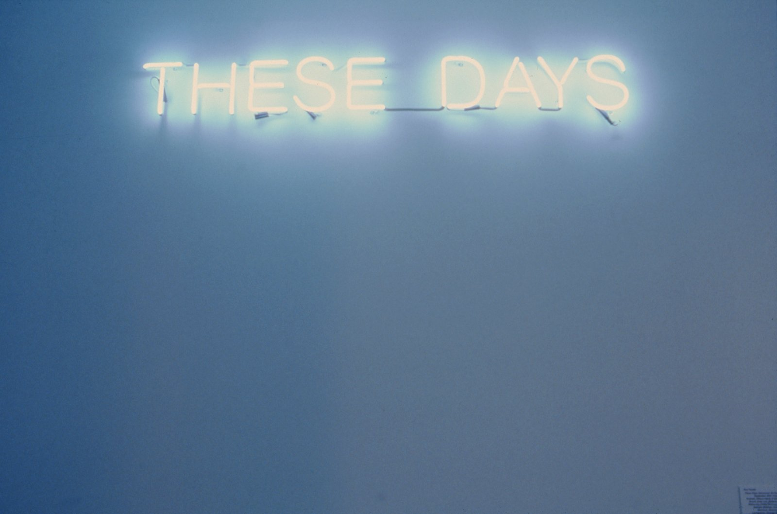 Ron Terada, These Days, 2002, neon sign, 9 x 69 in. (22 x 174 cm)