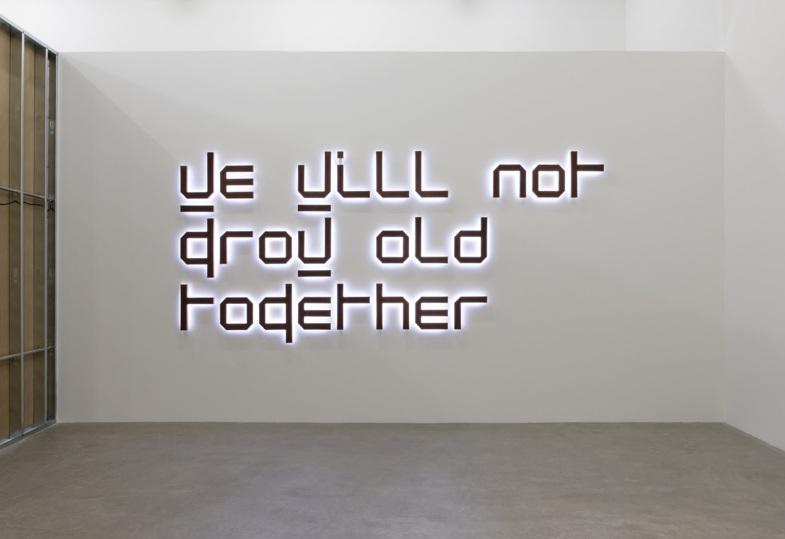 Ron Terada, We Will Not Grow Old Together, 2014, white neon, rusted corten steel, birch plywood, 61 x 136 x 3 in. (155 x 345 x 8 cm) by Ron Terada