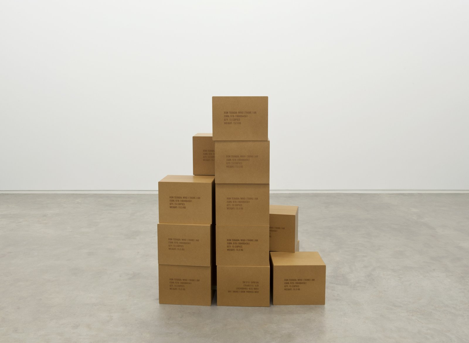 Ron Terada, Who I Think I Am, 2011, 15 MDF boxes, varnish, each 10 x 13 x 11 in. (26 x 33 x 27 cm) by Ron Terada