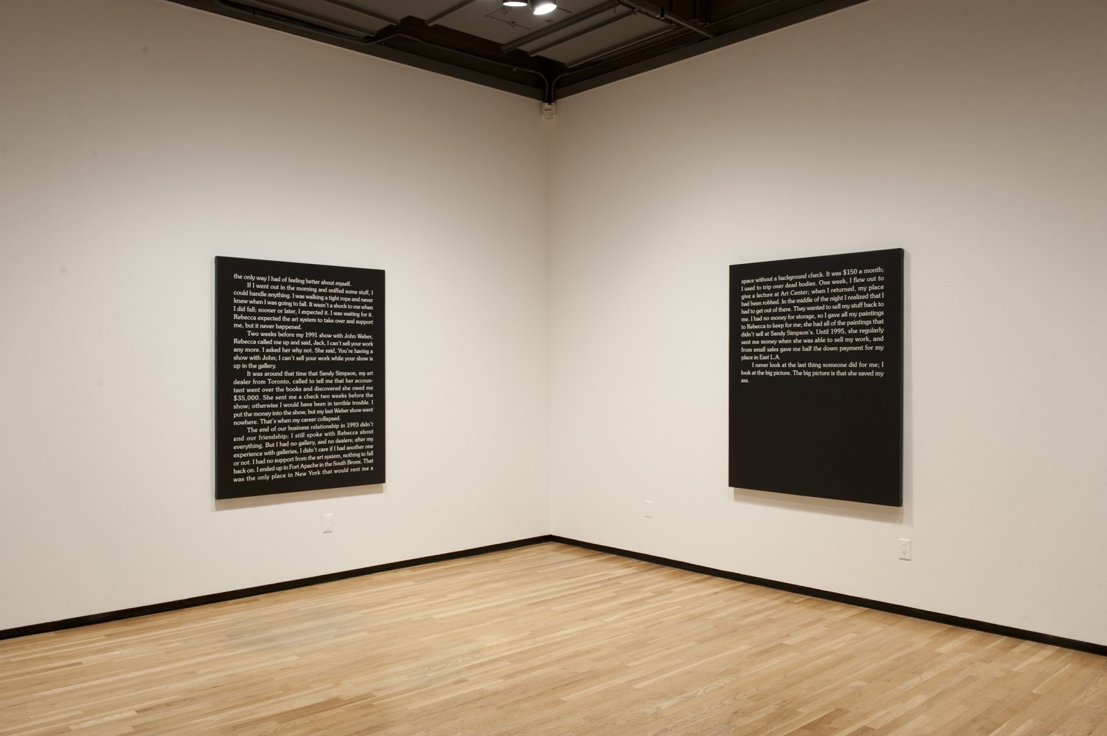 Ron Terada,Jack, 2010, acrylic on canvas, each60 x 48 in. (152 x 122 cm). Installation view,Who I Think I Am, Walter Phillips Gallery, Banff, AB, 2010