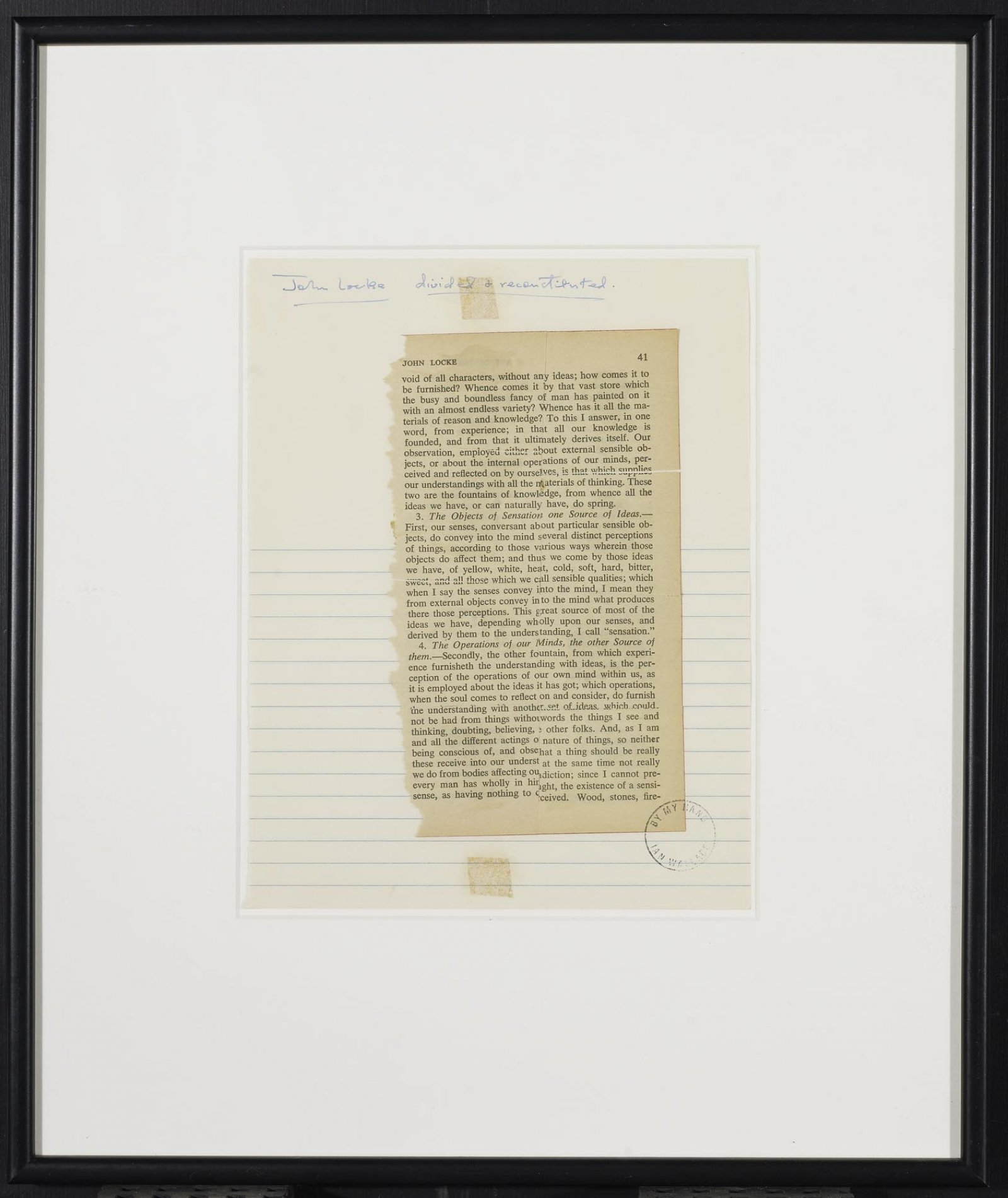 Ian Wallace,John Locke Divided and Reconstituted, 1969,printed page collage,9 x7 in. (23 x 18 cm)